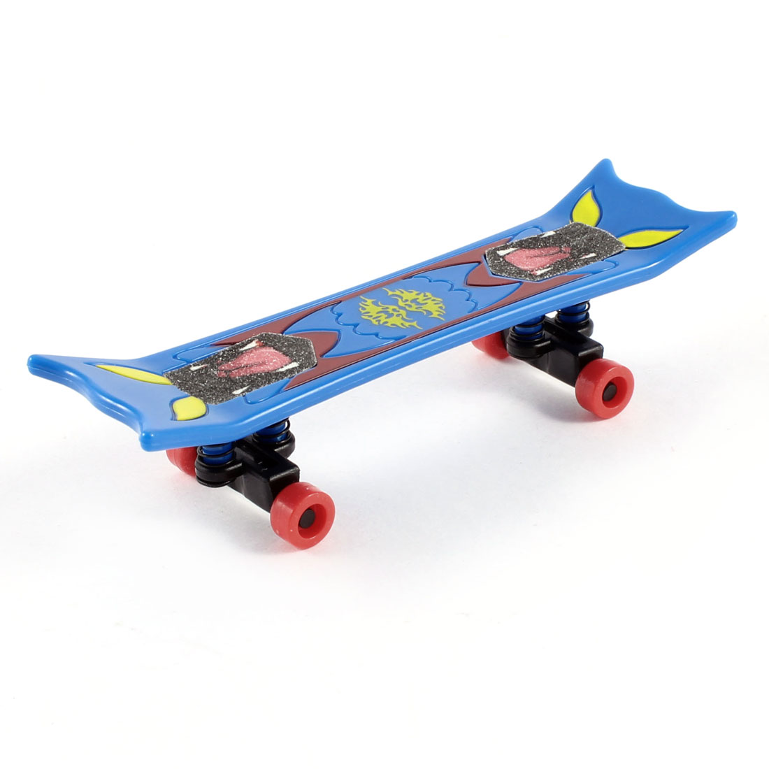 "3.7"" Length Cartoon Printed Plastic Handboard Finger Skate Boarding Toy Blue"