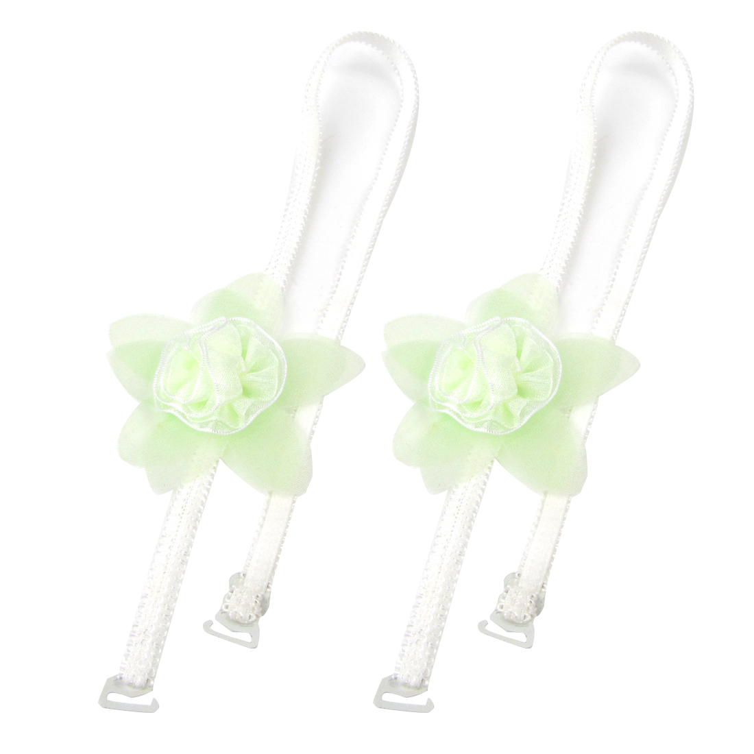 2 Pcs Light Green Flower Decor Pure Pattern Bra Straps White for Woman