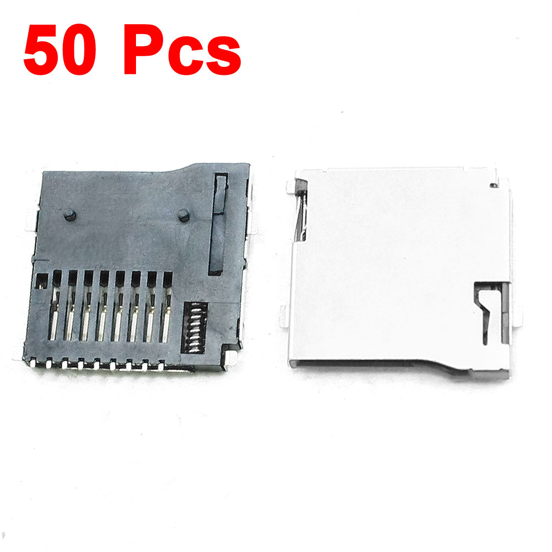 50 Pcs Push-out Type Stainless Steel TF Micro SD Card Sockets Slots