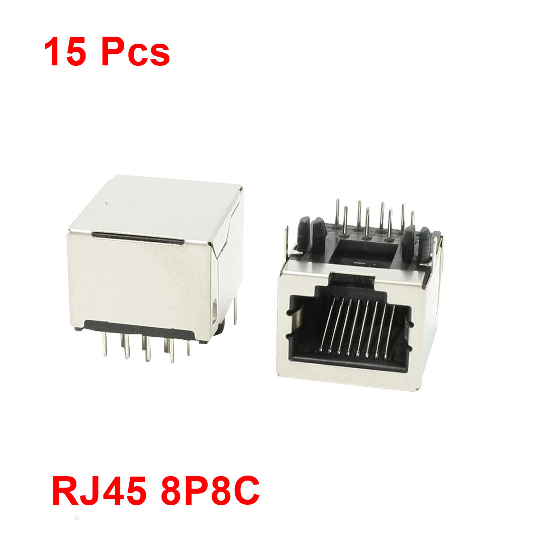 PCB Mounting 8 Right Angle Pins RJ45 Jacks Connectors 15 Pcs