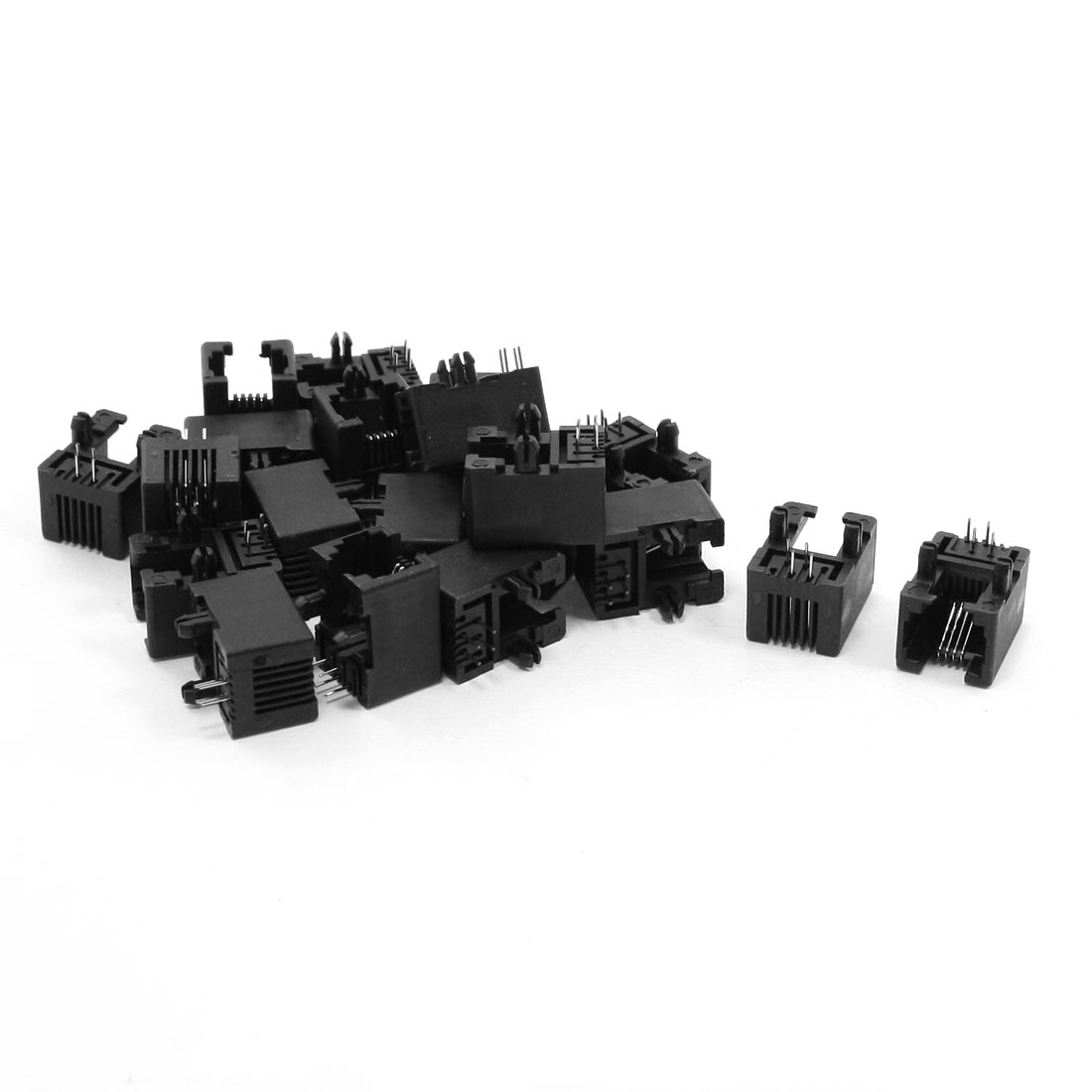 20 Pcs RJ11 6P4C PCB Jacks Plastic Ports for ADSL Network Modern