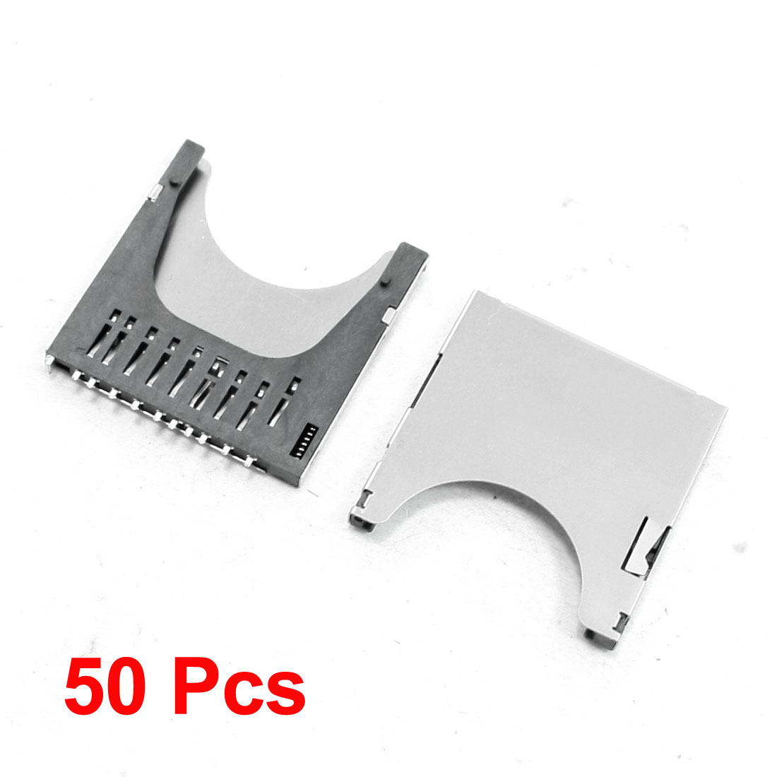 50 Pcs Push-push Type Stainless Steel SD Memory Card Sockets Connectors