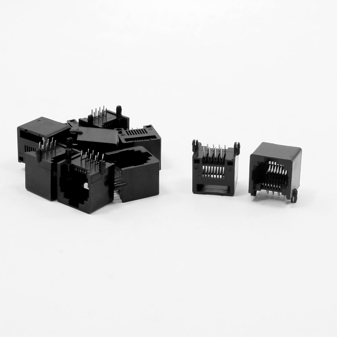 10pcs RJ45 8P8C Computer Internet Network PCB Jack Socket Black