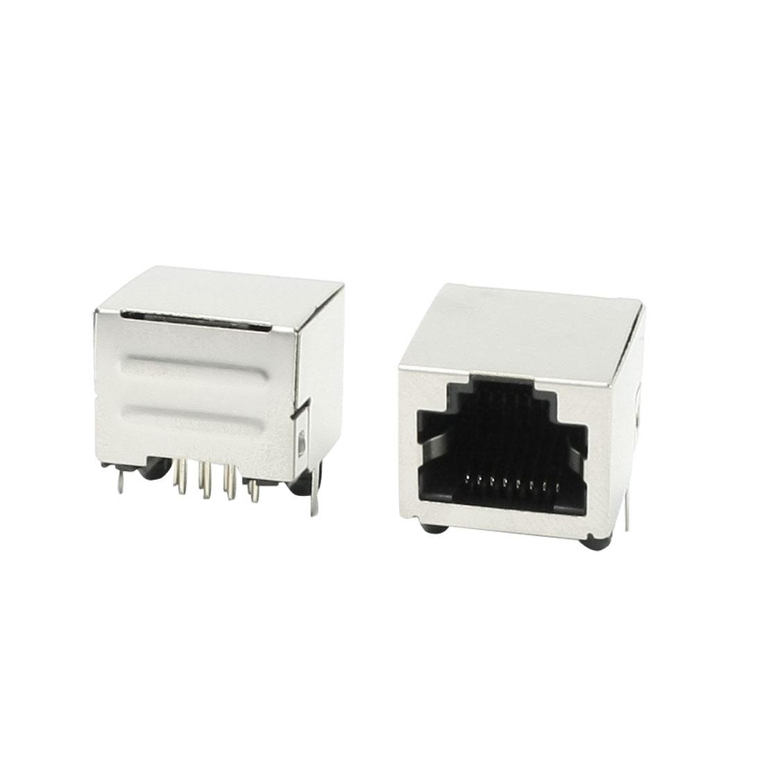 2Pcs RJ45 8P8C PCB Jacks Connectors DIY Replacements 15mm Length