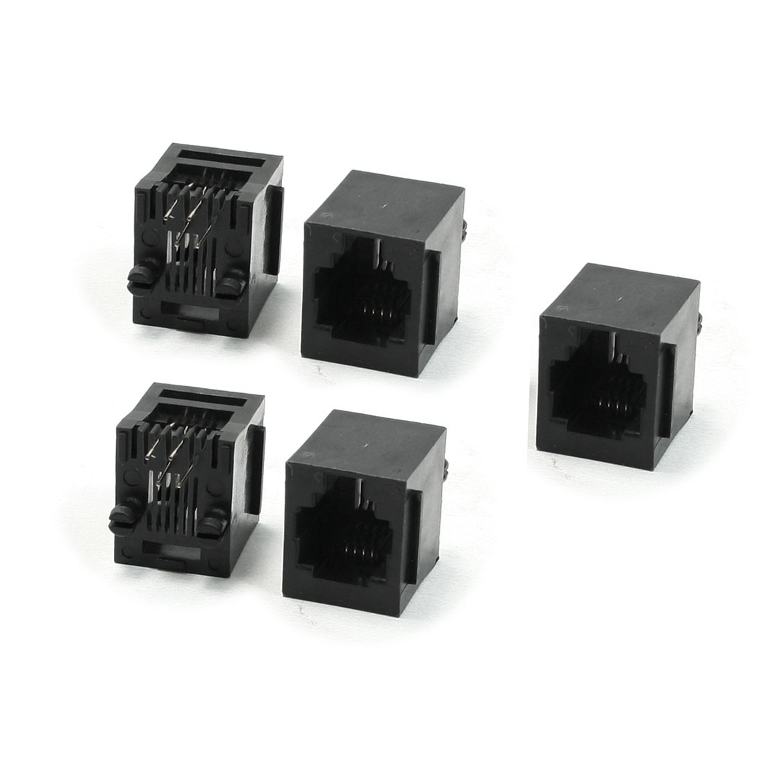 5 Pcs 0 Degree Pins RJ11 RJ13 RJ14 6P4C Telephone Jacks Sockets