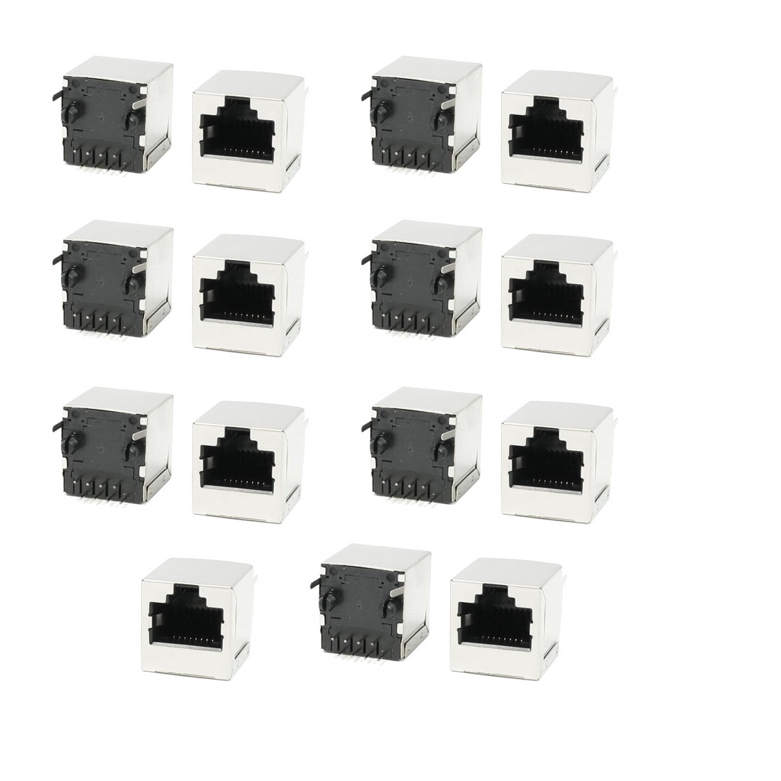 15 Pieces 8Pin RJ45 Jack Vertical Ports Sockets 16mm x 15.5mm x 16mm