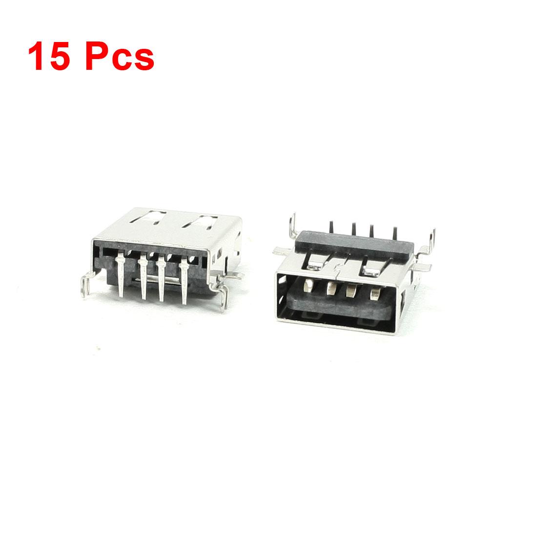 15Pcs Type A USB2.0 Female PCB Mount Port Jacks for PC Computer