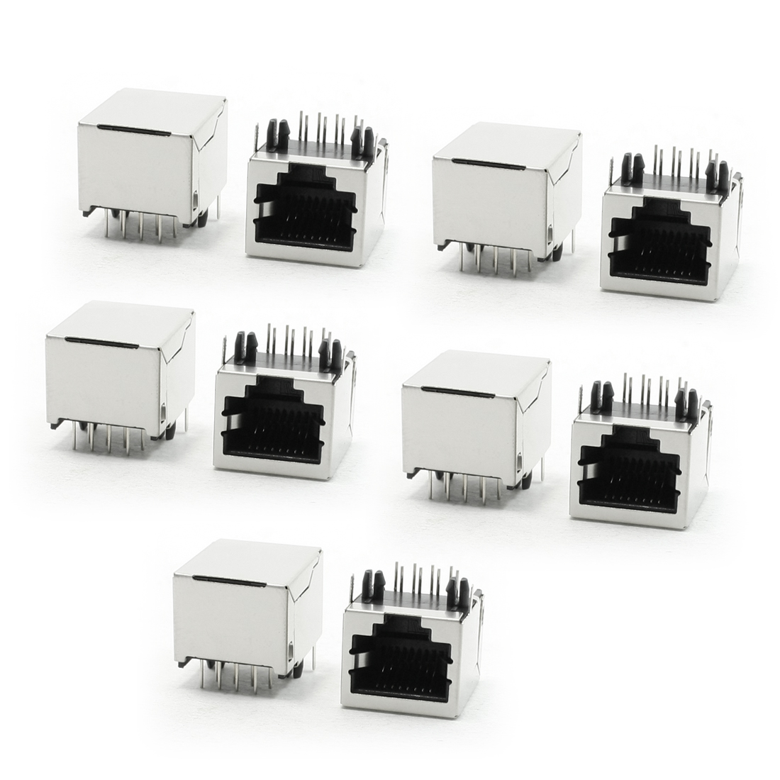 10 Pieces Stainless Steel Shielded 8P8C RJ45 PCB Jacks Connectors 18mm Long