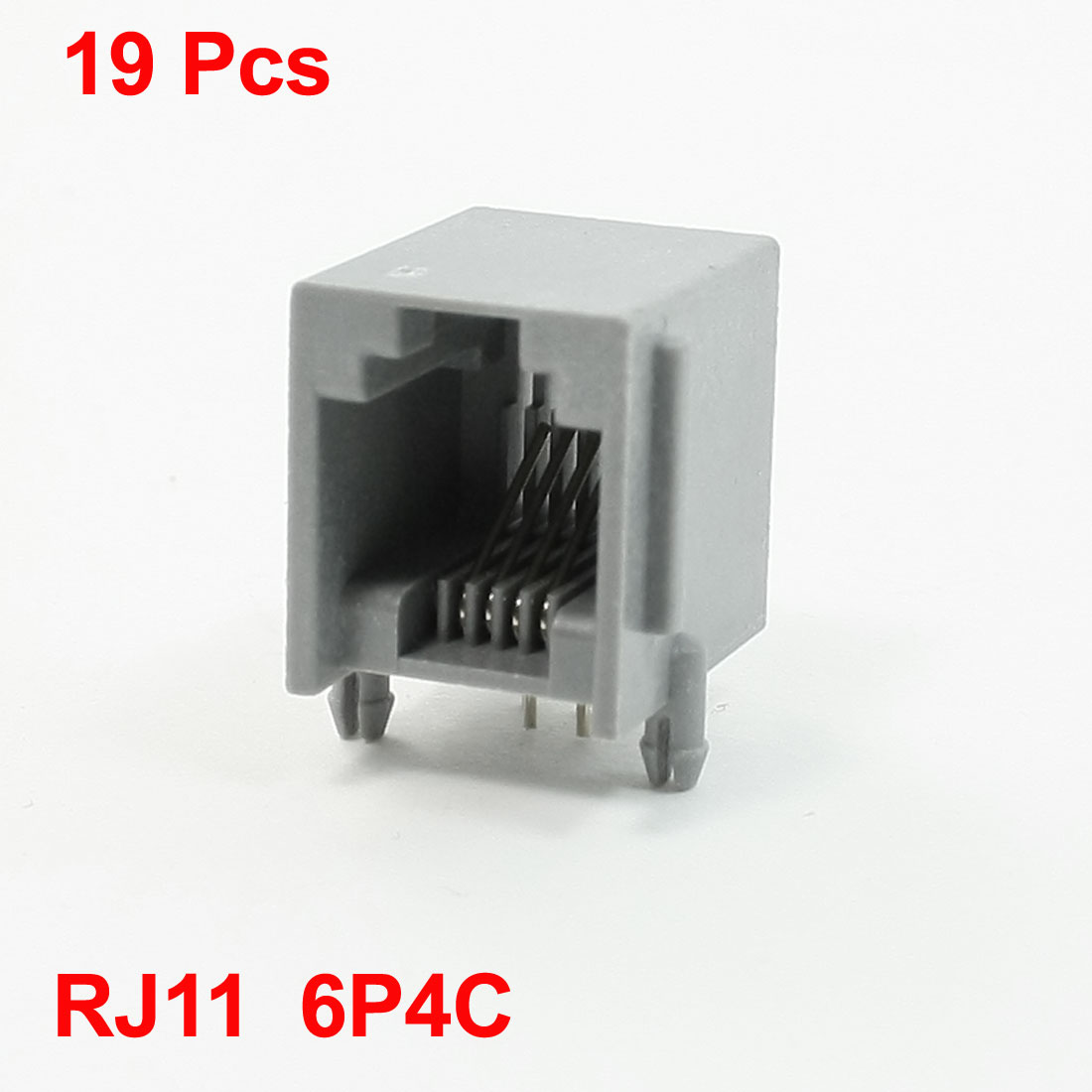 Right Angle Pins RJ11 6P4C Modular Network PCB Jack 15mm Length 19Pcs