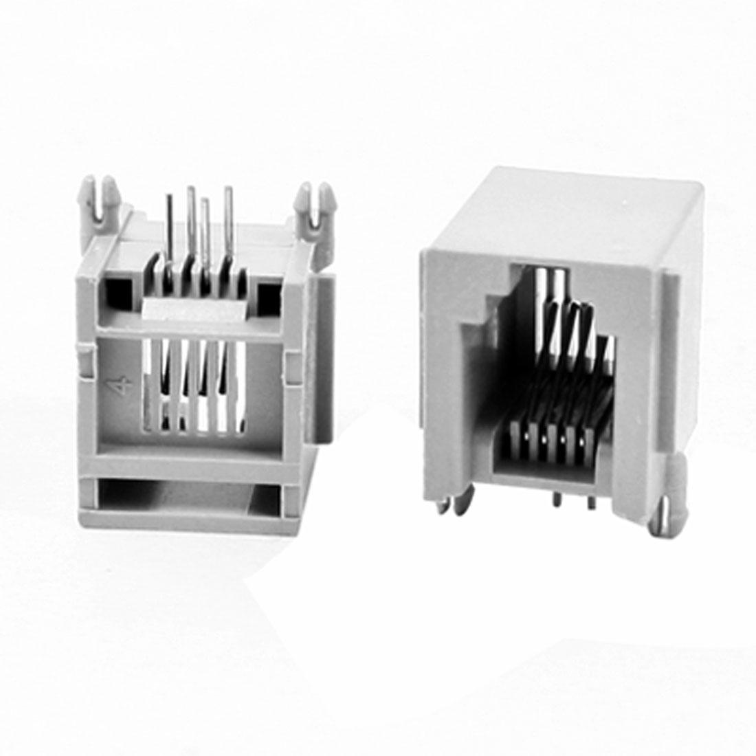"""20 Pcs 0.6"""" Long RJ11 6P4C PCB Jacks Horizontal Sockets Gray for WAN Modem"""