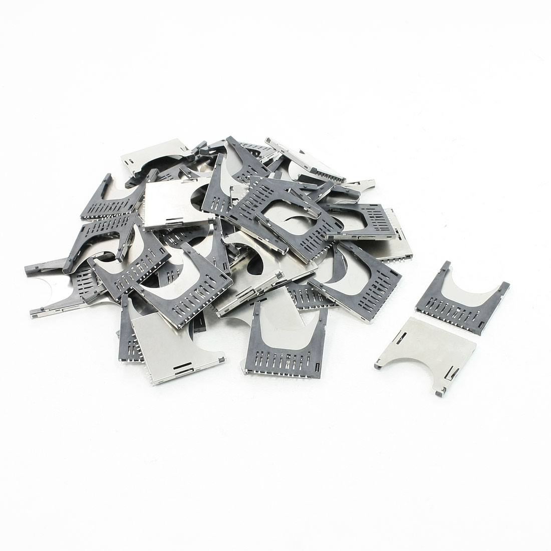 50 Pcs Flip Type Stainless Steel SD Memory Card Sockets Slots