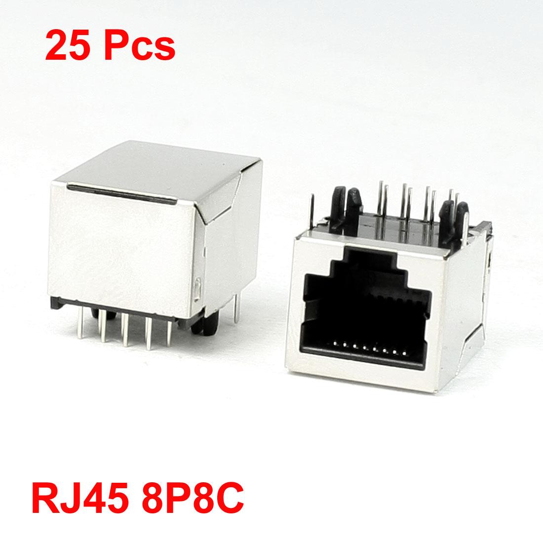 "25 Pcs Stainless Steel Shell 8P8C RJ45 PCB Jacks Connectors 0.8"" x 0.6"" x 0.55"""