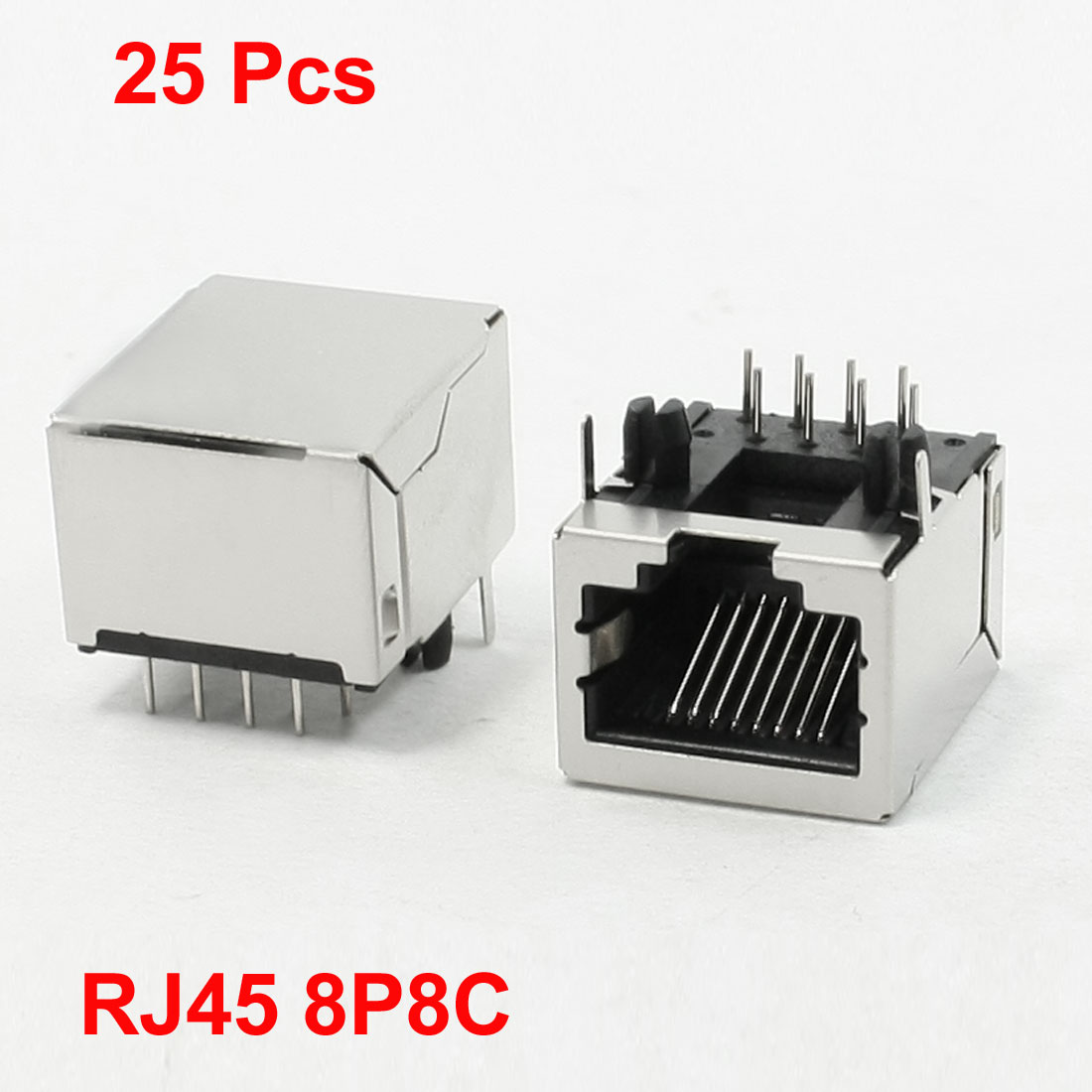25Pcs RJ45 PCB Jack Connector 8 Right Angle Rear Pins 18 x 15.5 x 12mm