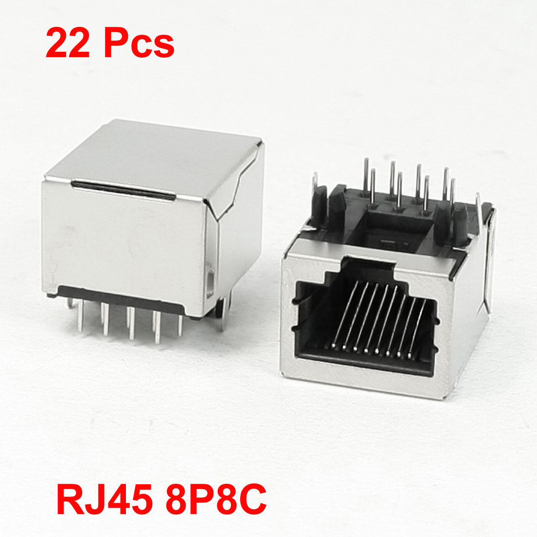 22 Pcs Stainless Steel Casing Right Angle Pins 8P8C RJ45 PCB Jack for Network
