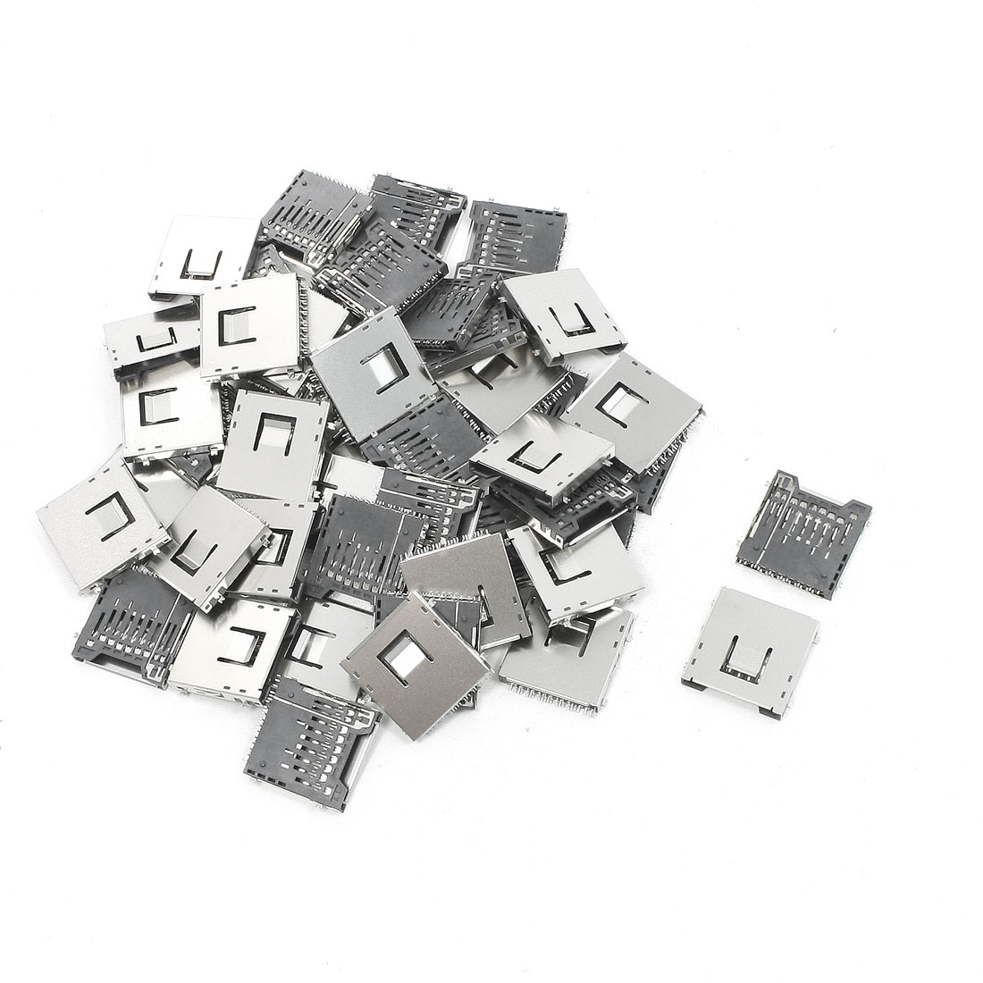 "50Pcs Stainless Steel SD Memory Card Sockets Connectors 1"" x 1"" x 0.1"""