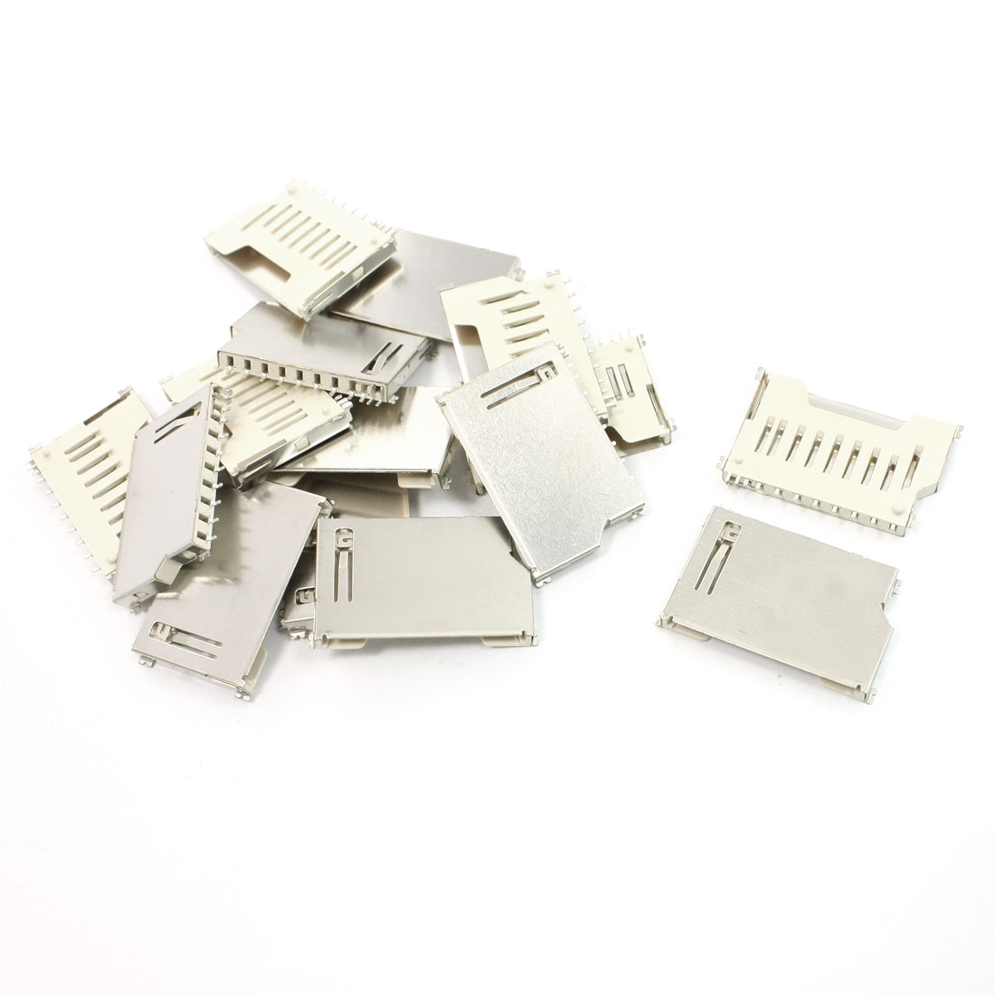 15 Pcs Pull Out Type SD Memory Card Sockets Connectors 16mm Length