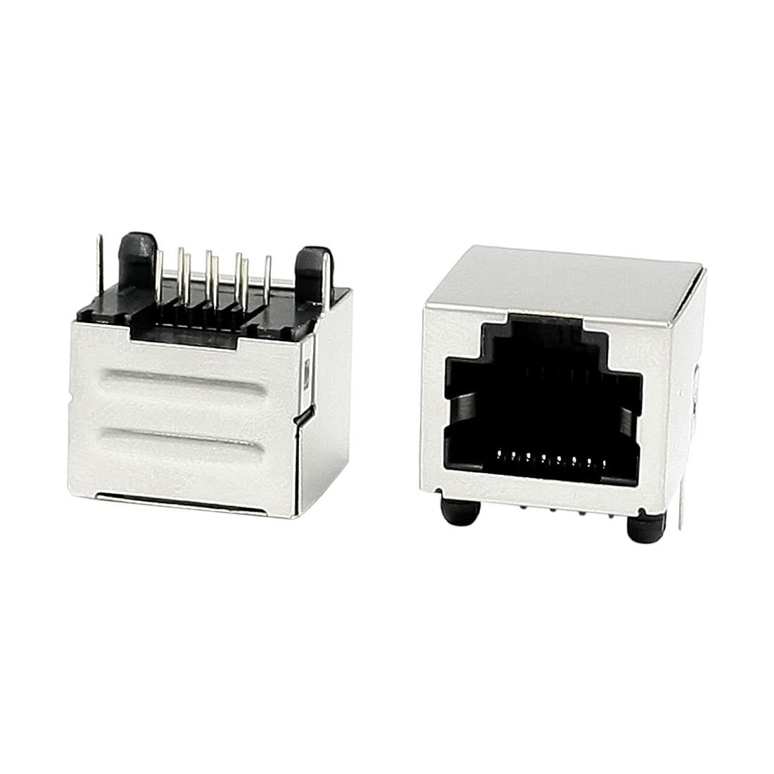 15 Pcs 8 Pins RJ45 PCB Horizontal Plug-in Type Jacks Sockets 15mm Length