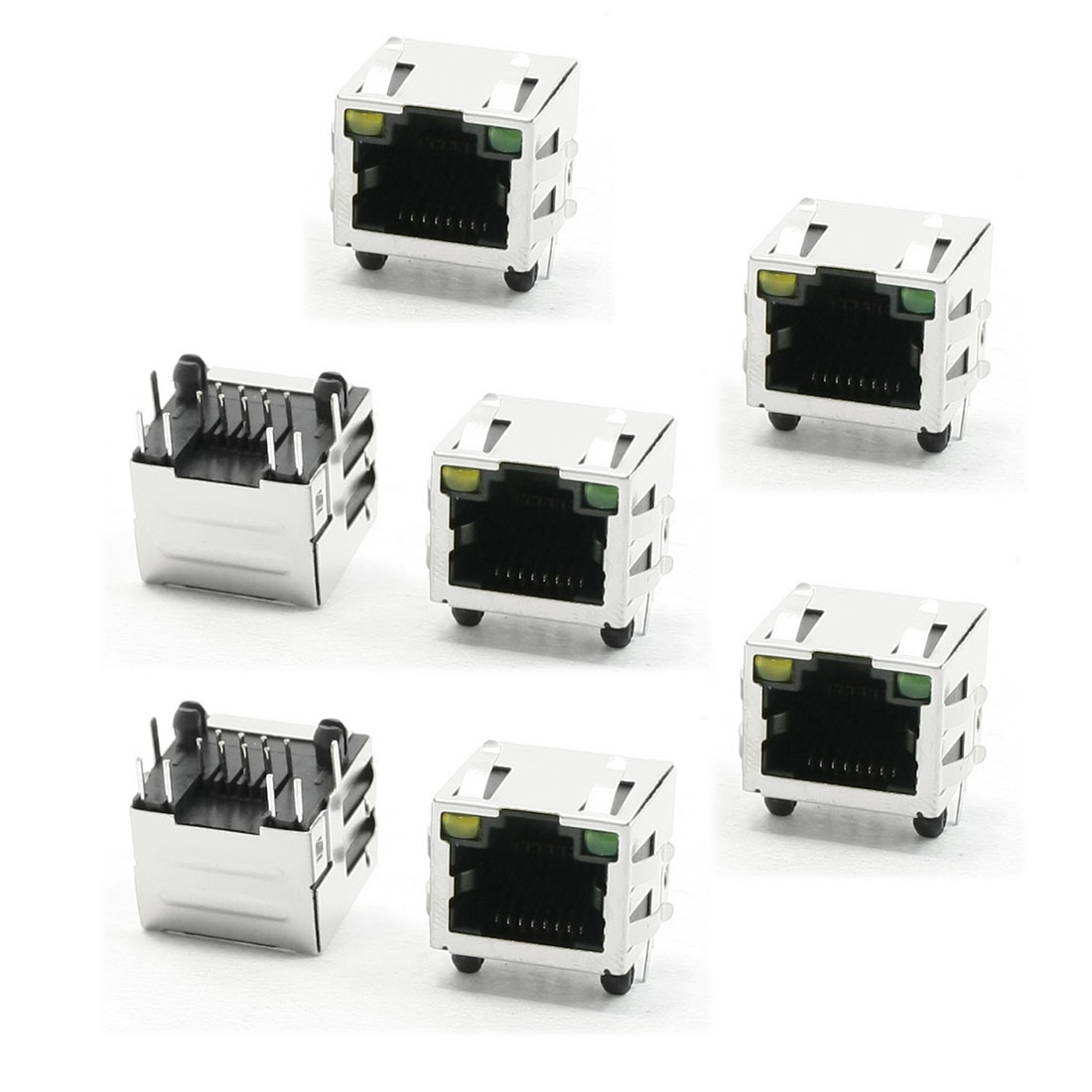 LED Pilot Light Stainless Steel Shielded RJ45 8P8C PCB Jack LAN Socket 7 Pcs