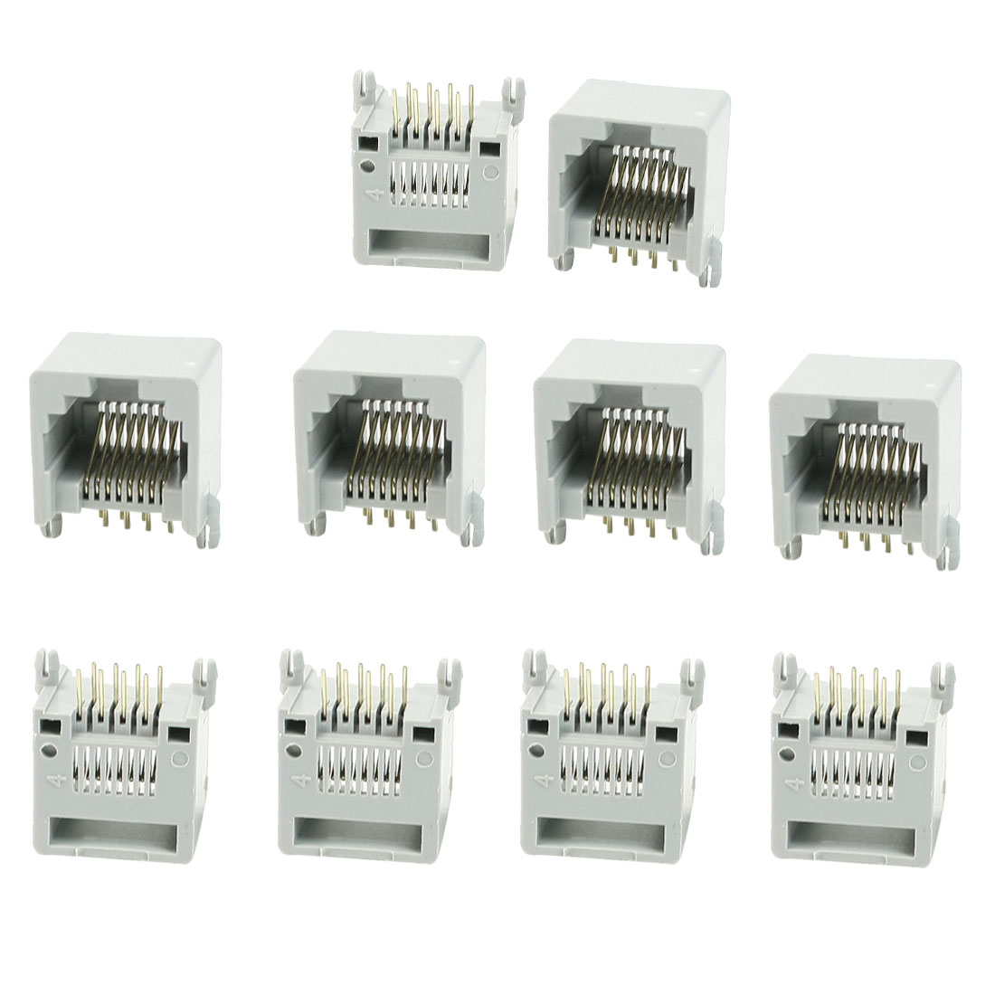 10 x Gray Plastic RJ45 8P8C Modular Jacks Connectors for LAN Network