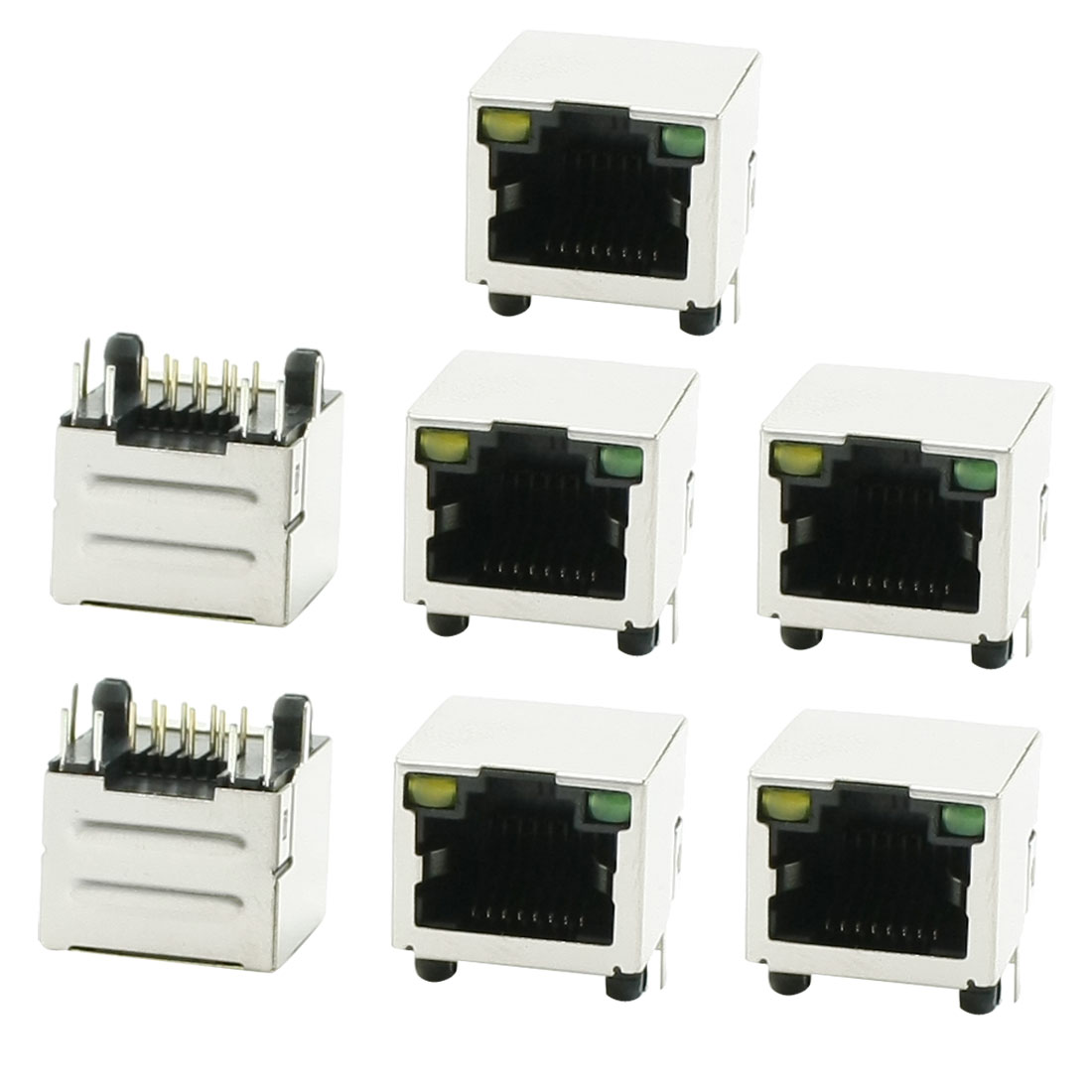 7 x RJ45 8P8C 8-Postion 8-Contact LED Jack Shielded Female Connector Port