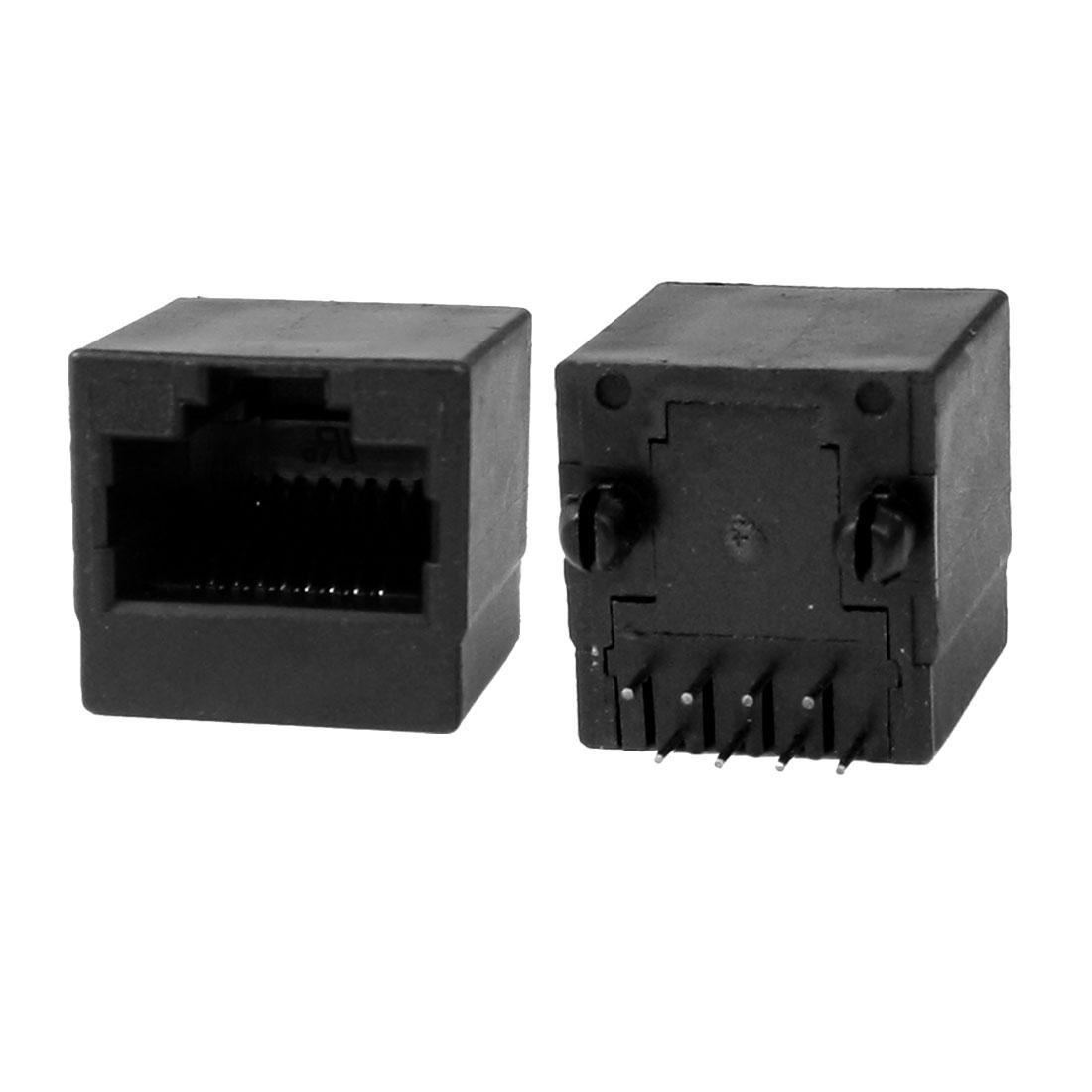 10 Pcs 15mm Long Black Plastic Shell 8P8C RJ45 Modular Network Jacks Sockets