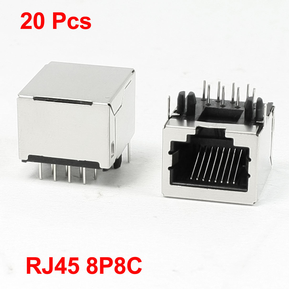 "20 Pcs Stainless Steel Shell 8P8C RJ45 PCB Jack Connector 0.7"" x 0.6"" x 0.5"""