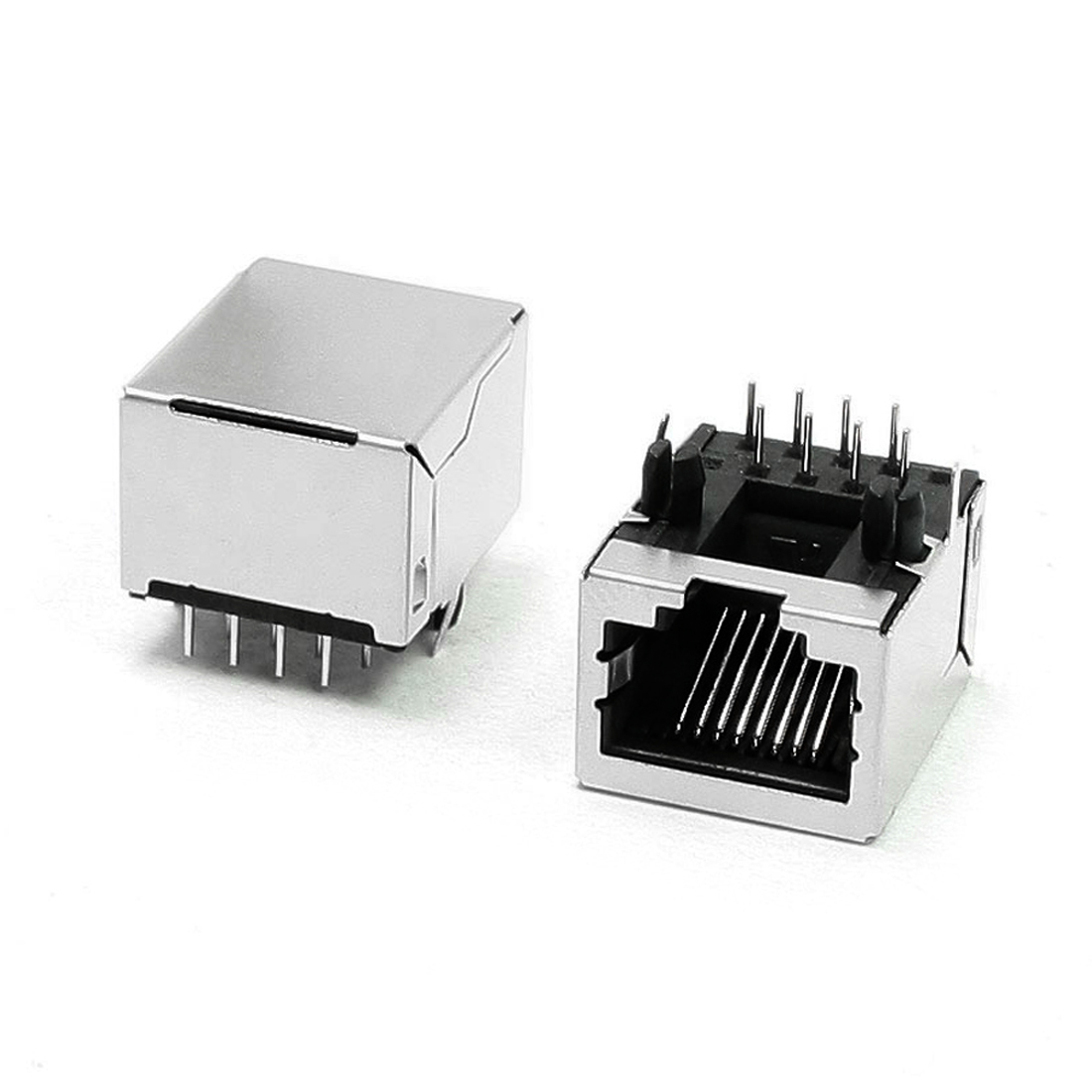 10 Pcs PCB Plug-in Design 8 Right Angle Pins RJ45 Jacks Ports 18mm Long