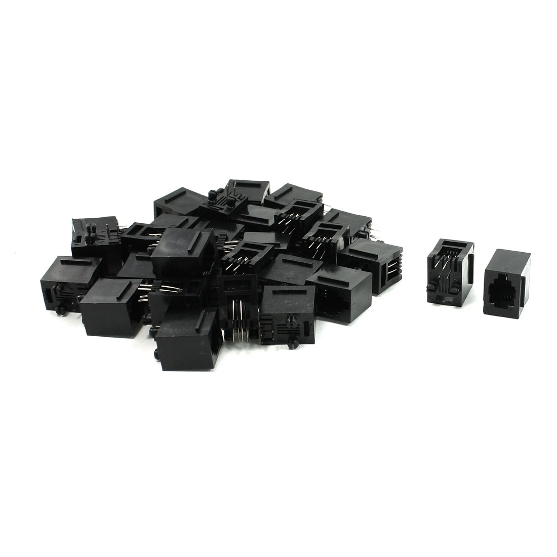 30Pcs RJ9 RJ10 RJ22 4P4C Handset Cord Sockets Vert PCB Jacks 15mm Length