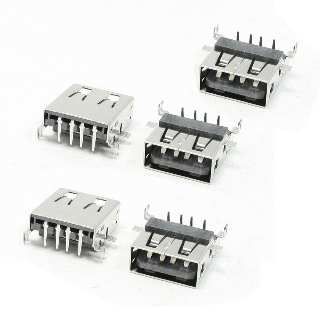 5 Pieces USB2.0 Type A Female Jack Right Angle PCB Mount Port