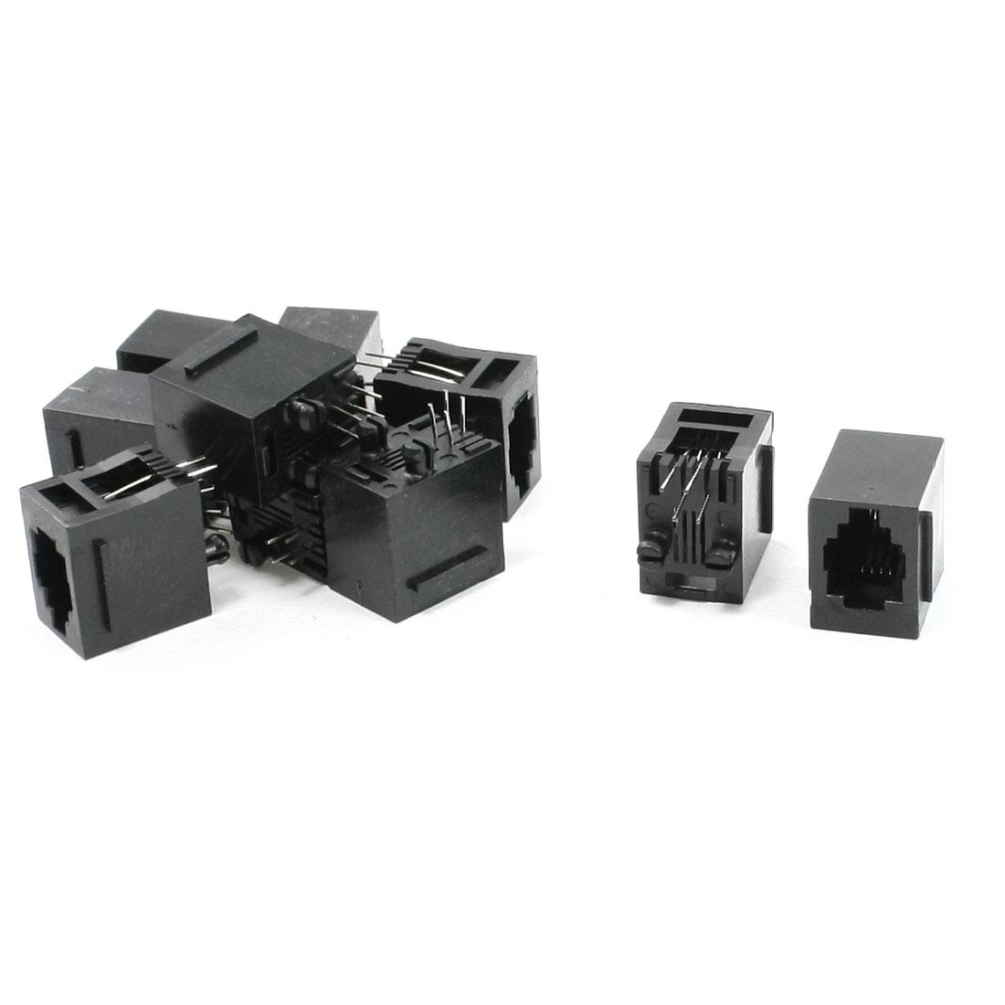 10Pcs RJ9 RJ10 RJ22 4P4C Handset Flat Wire Sockets Vert Jacks 15x11x15mm