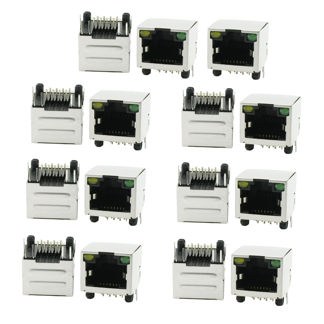 Right Angle Pins Stainless Steel Shield RJ45 8P8C PCB Mounting LED Jack 15 Pcs