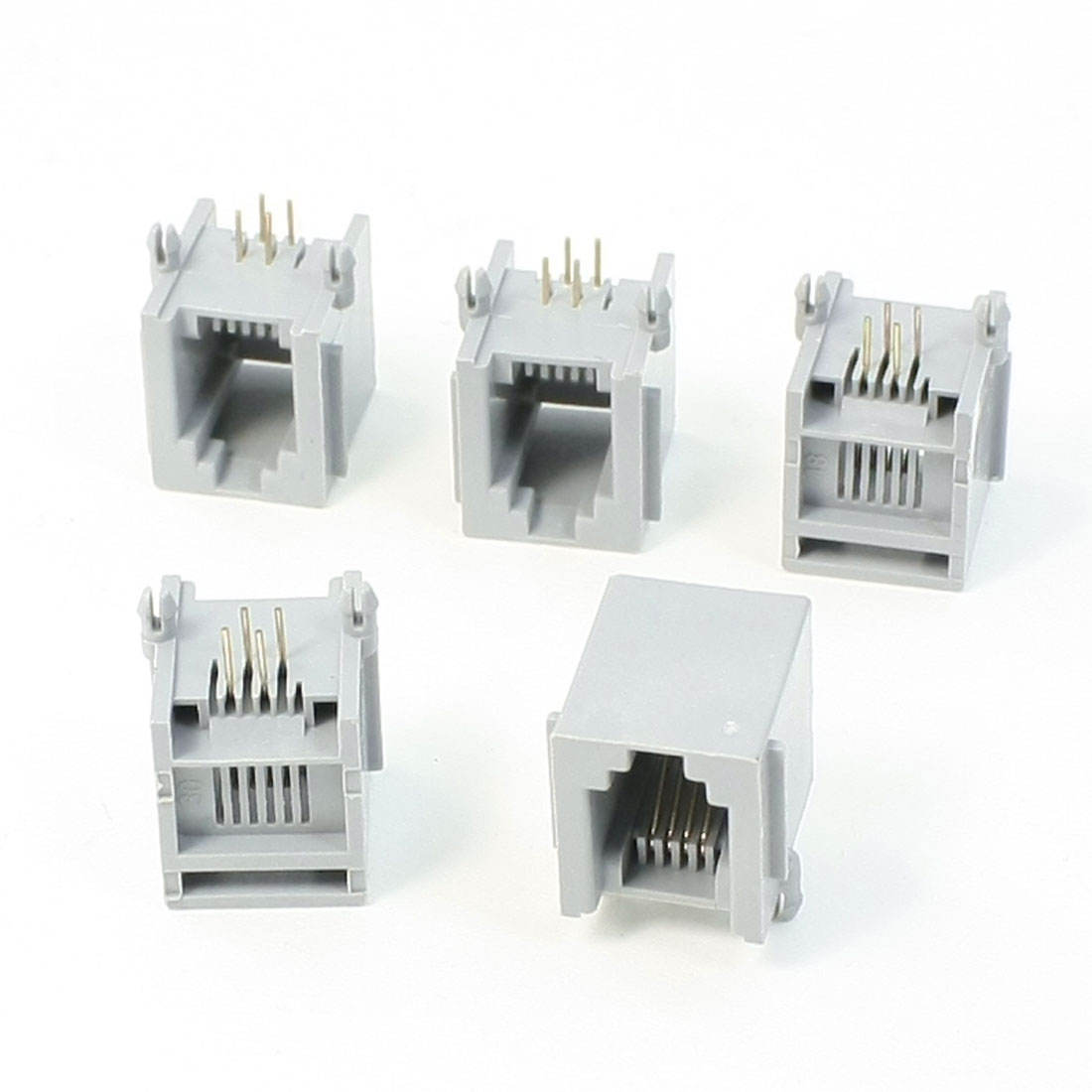 5 x RJ11 6P4C 6 Position 4 Contact PCB Jack Telephone Female Connector Gray