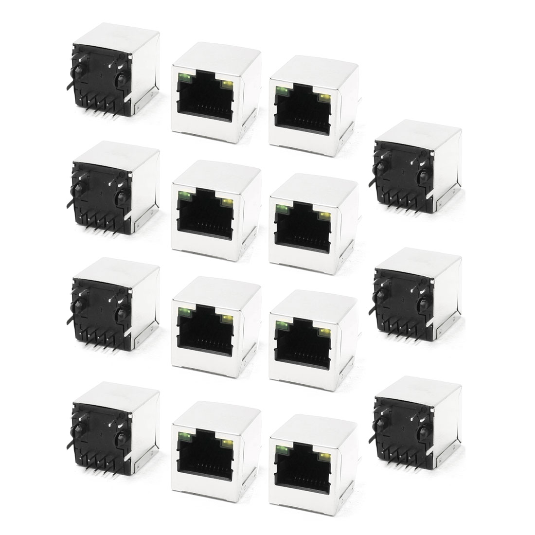 LED Indicator Light RJ45 8P8C Shielded PCB Jacks Network Ports 15 Pcs