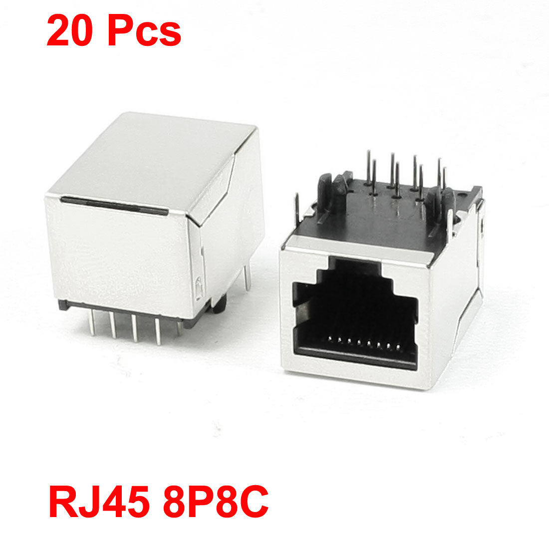 20Pcs Stainless Steel Shell 8P8C RJ45 PCB Jacks Connector 20mm x 15.5mm x 14mm