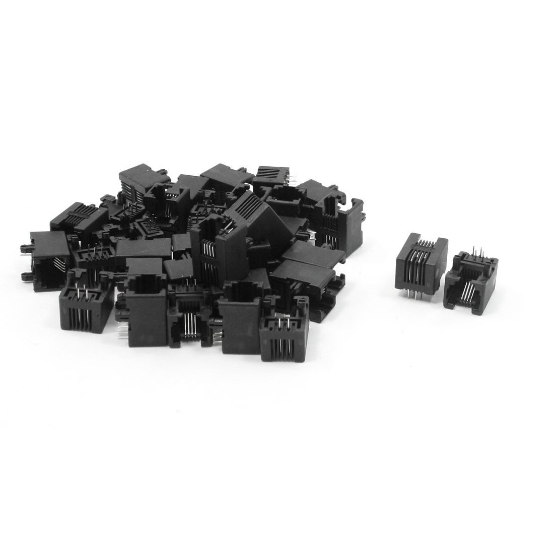 34pcs RJ11 6P4C Computer Internet Network PCB Jack Socket Black