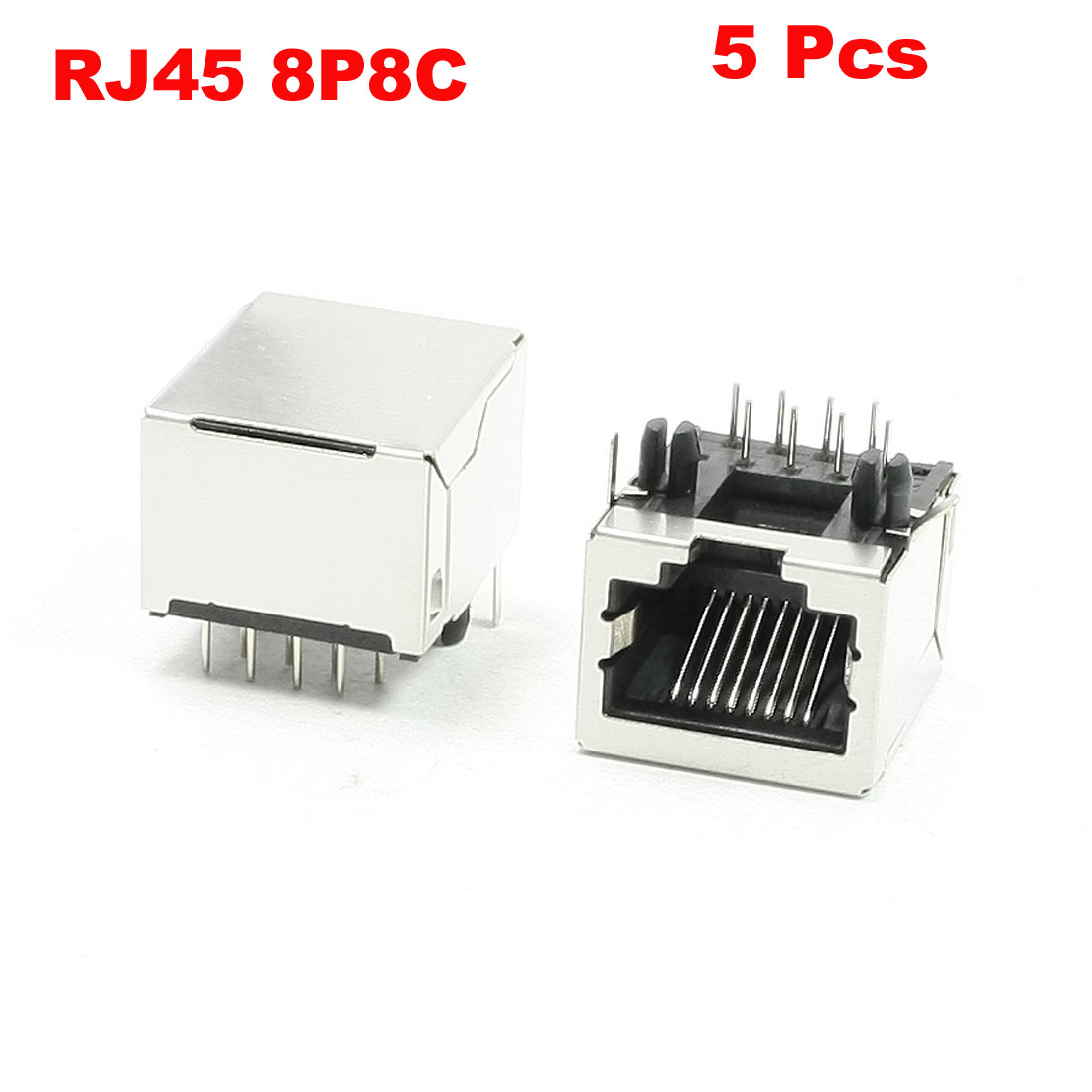 "5 Pcs 8P8C 8 Right Angle Pins RJ45 Jacks Repairing Sockets 0.7"" Length"
