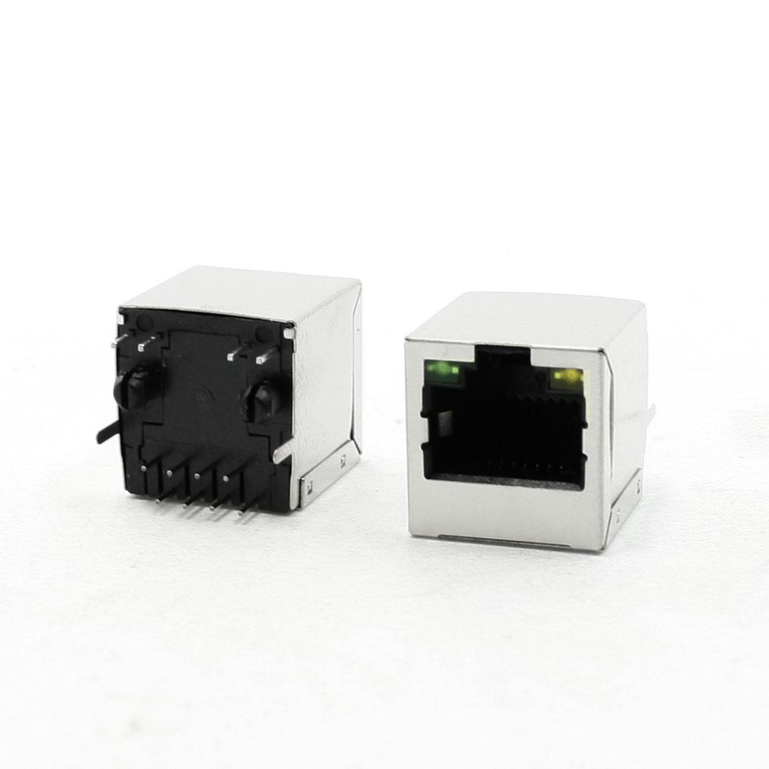 PCB Mount 0 Angle Pins LED Pilot Light RJ45 8P8C Modular Network Jacks 20Pcs