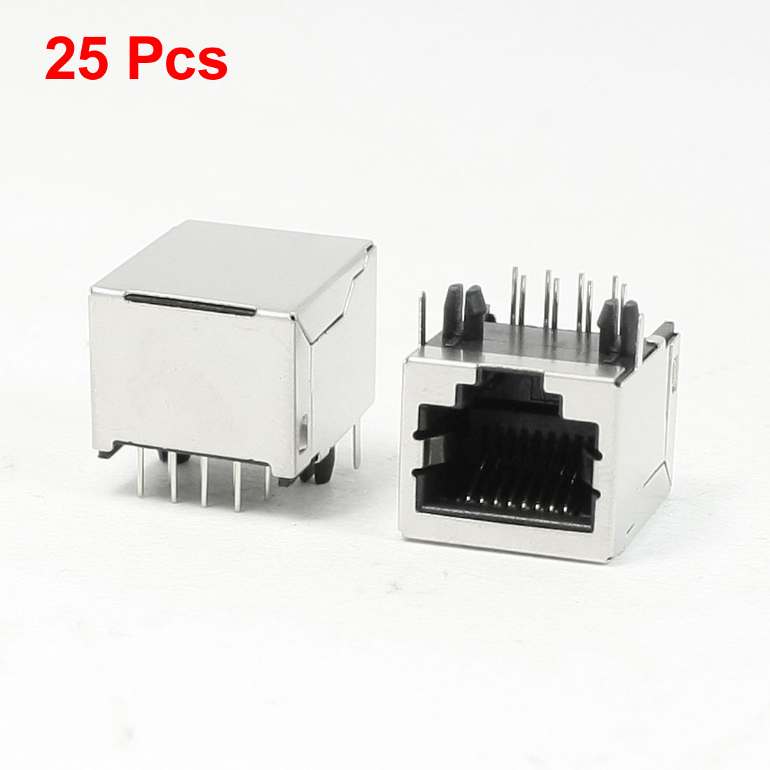 25 Pcs 8P8C RJ45 Modular Network Jacks Horizontal Mounting Connectors