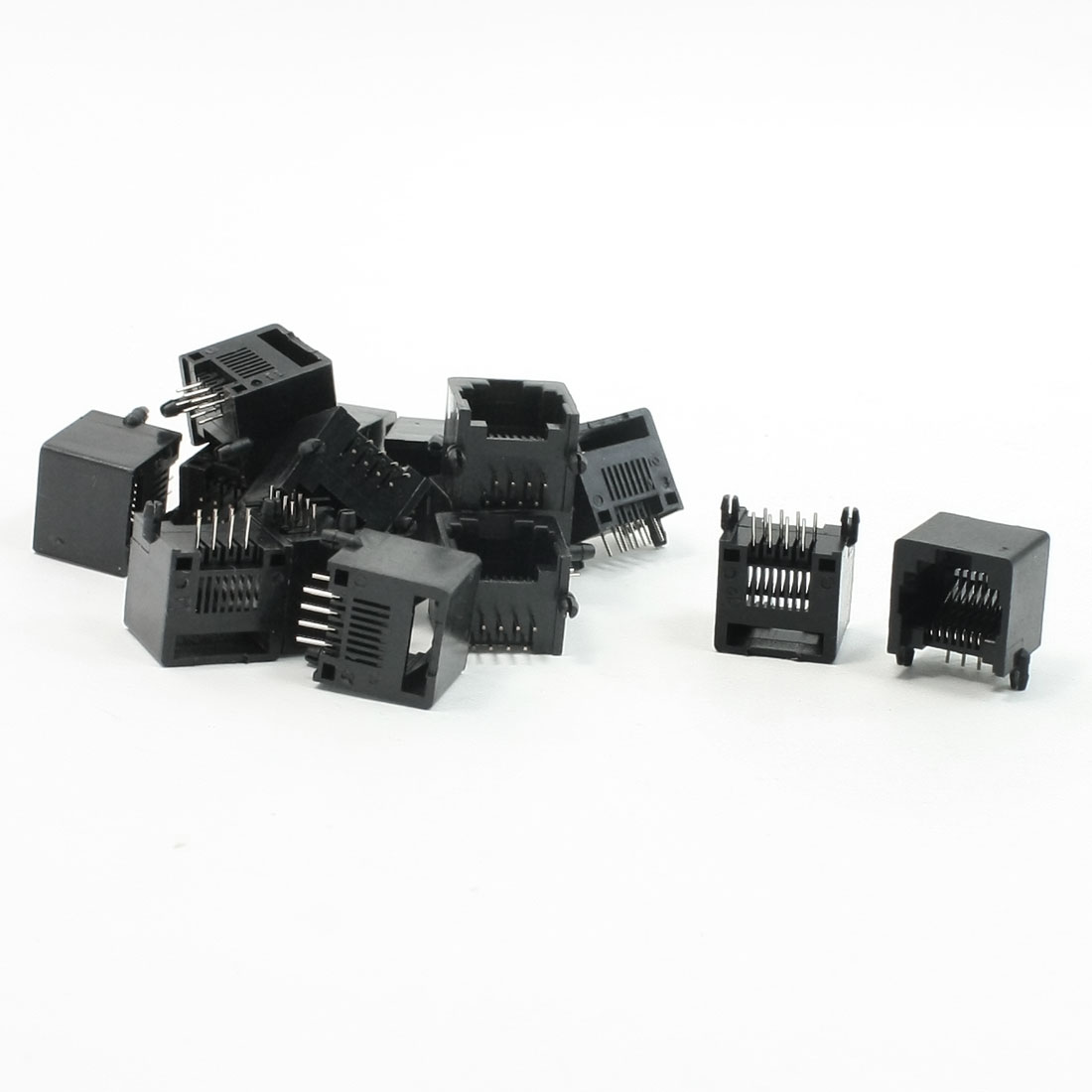 15pcs RJ45 8P8C Computer Internet Network PCB Jack Socket Black