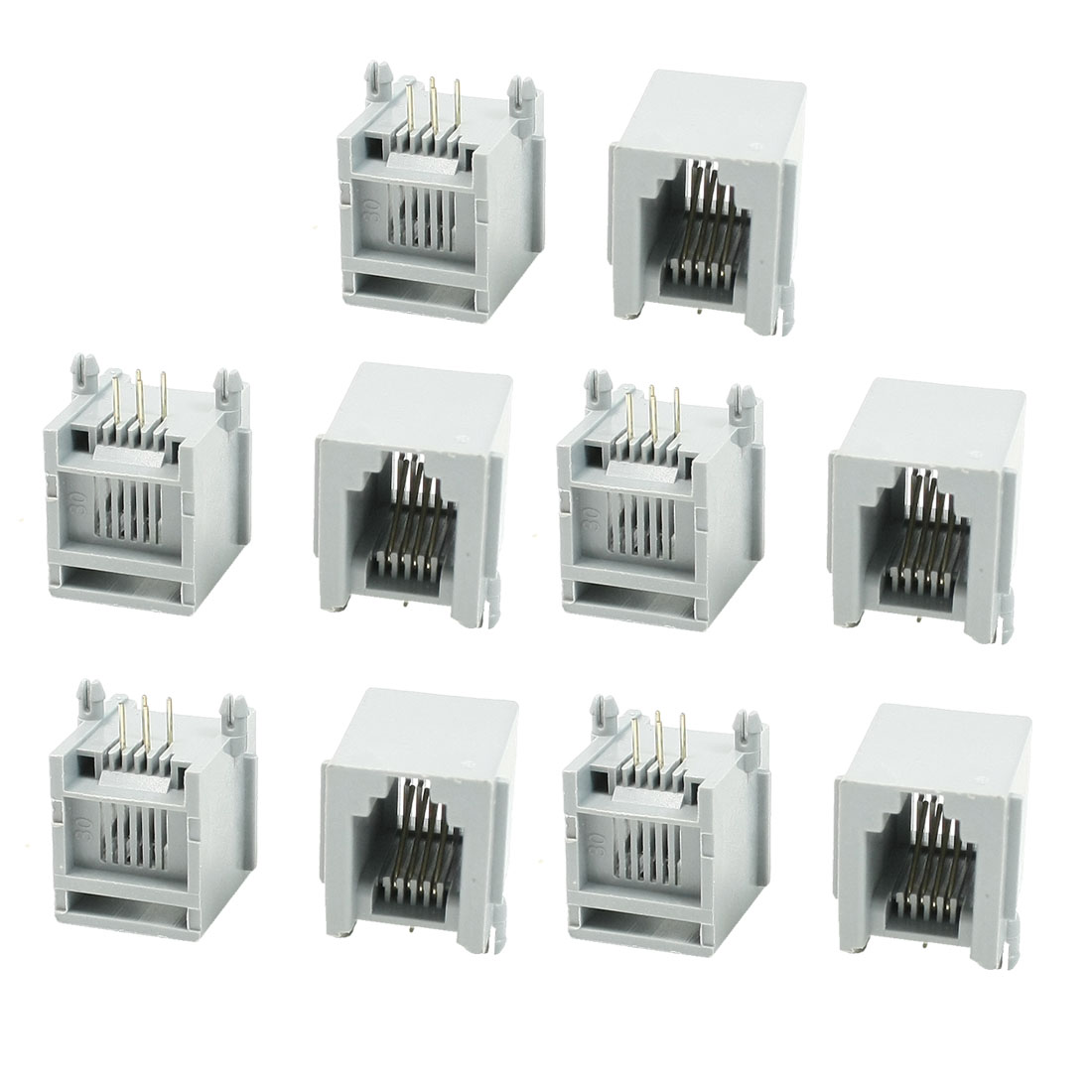 "10 Pcs RJ11 6P4C PCB Jacks Connectors Gray Ports 0.6"" Length for Ethernet"