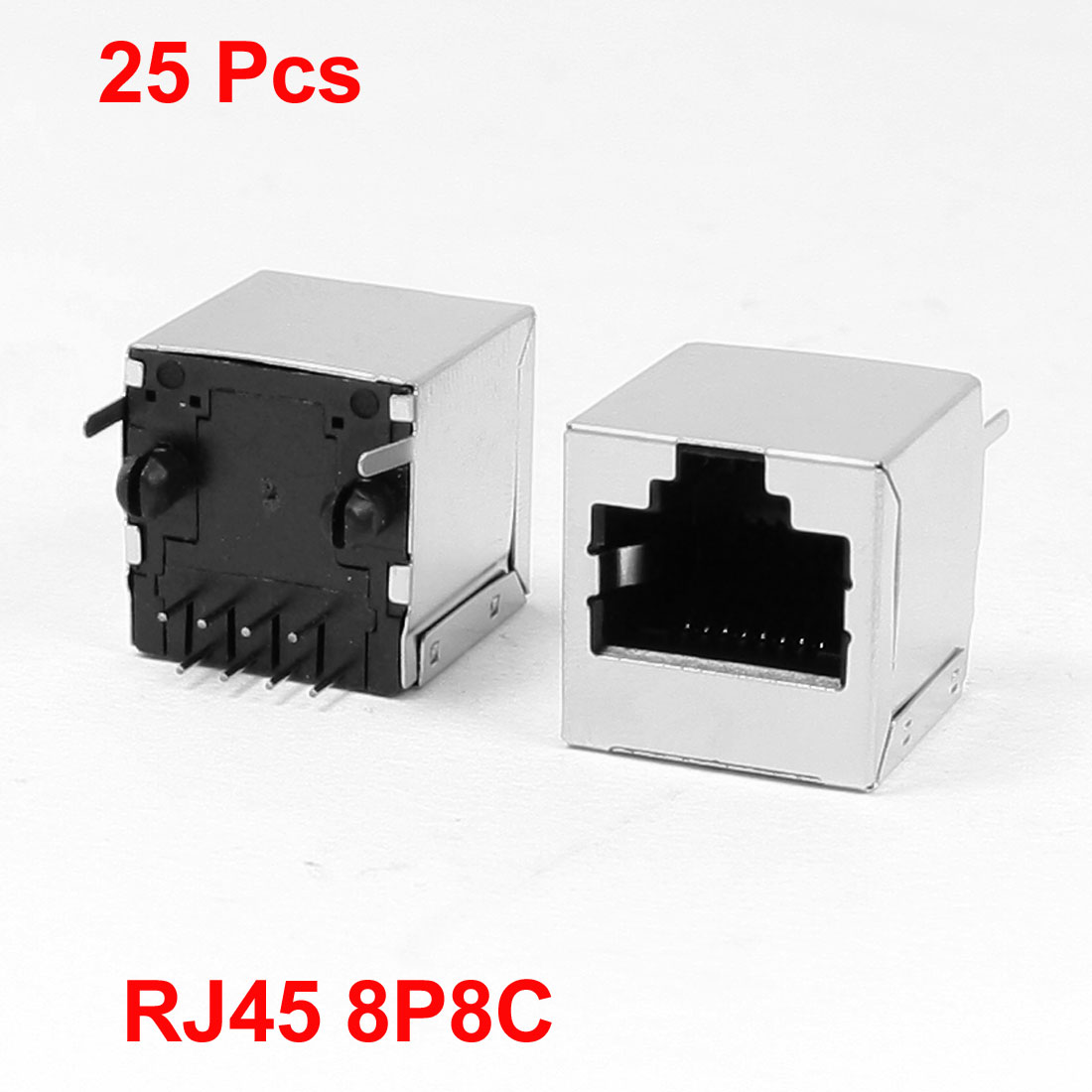 25 Pcs 8P8C RJ45 PCB Jack Vertical Female Connector