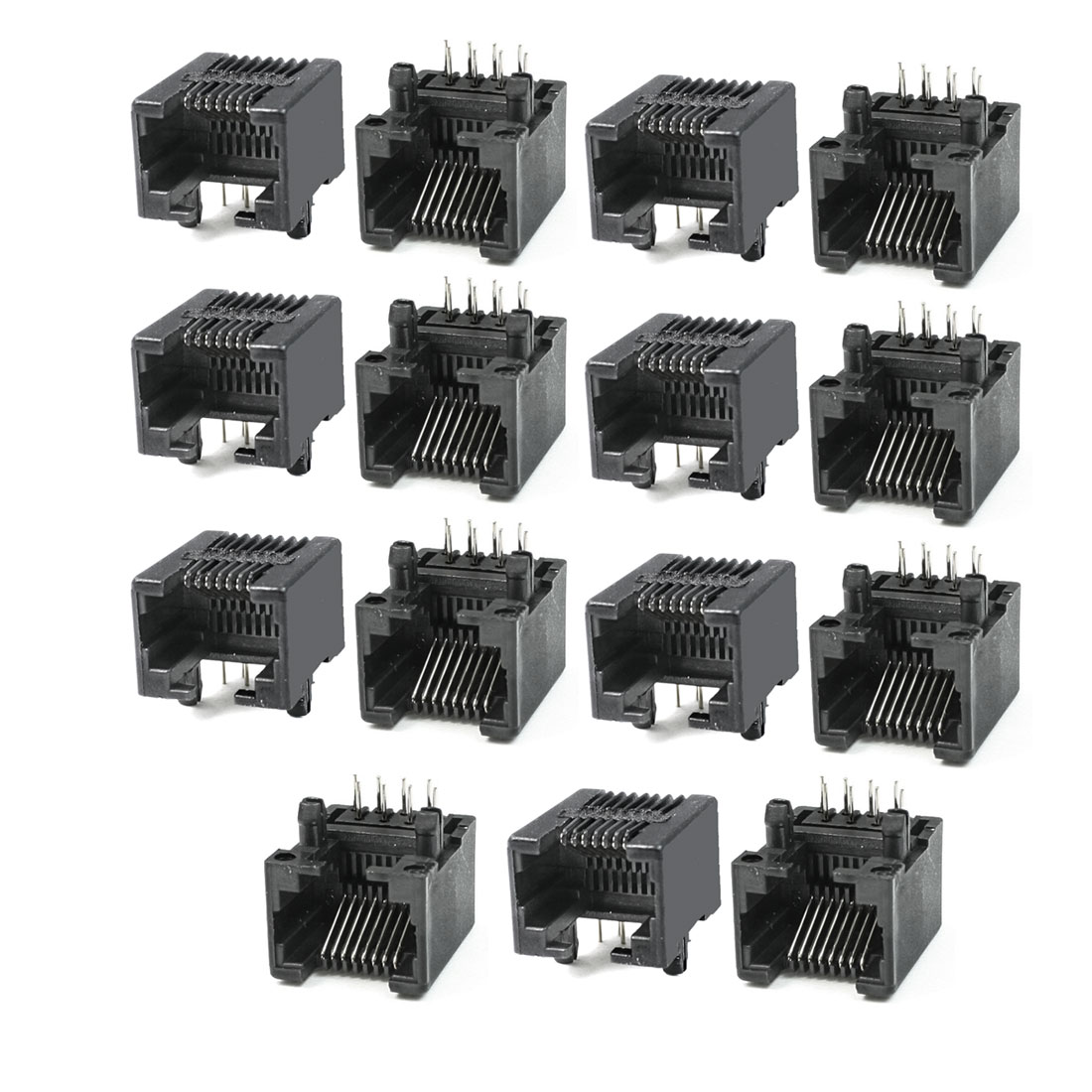 15 Pcs 17.5mm Long Black Plastic Shell 8P8C RJ45 Jacks Sockets Ports