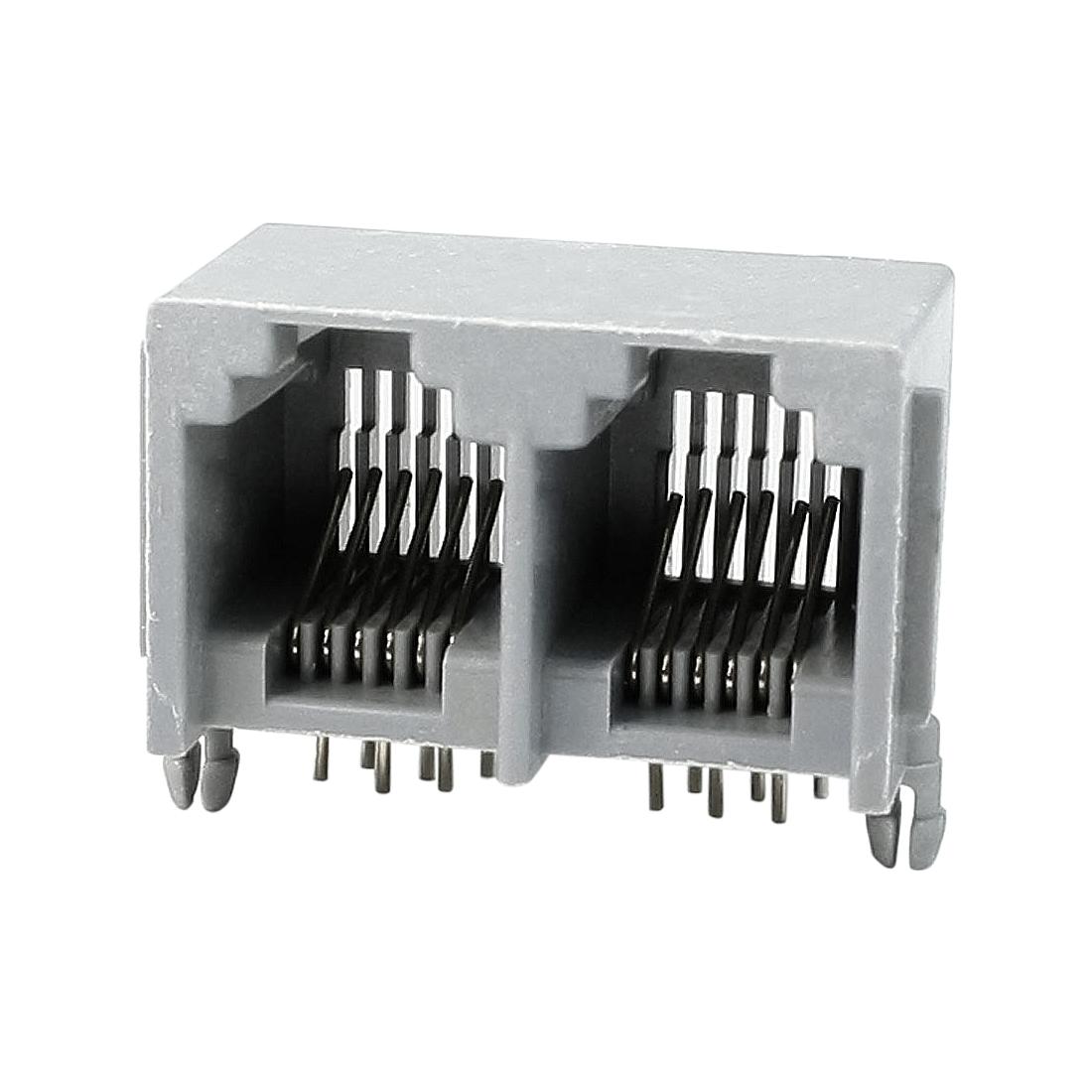 10 Pcs RJ12 6P6C 2 Way Computer Internet Network PCB Jack Socket Gray