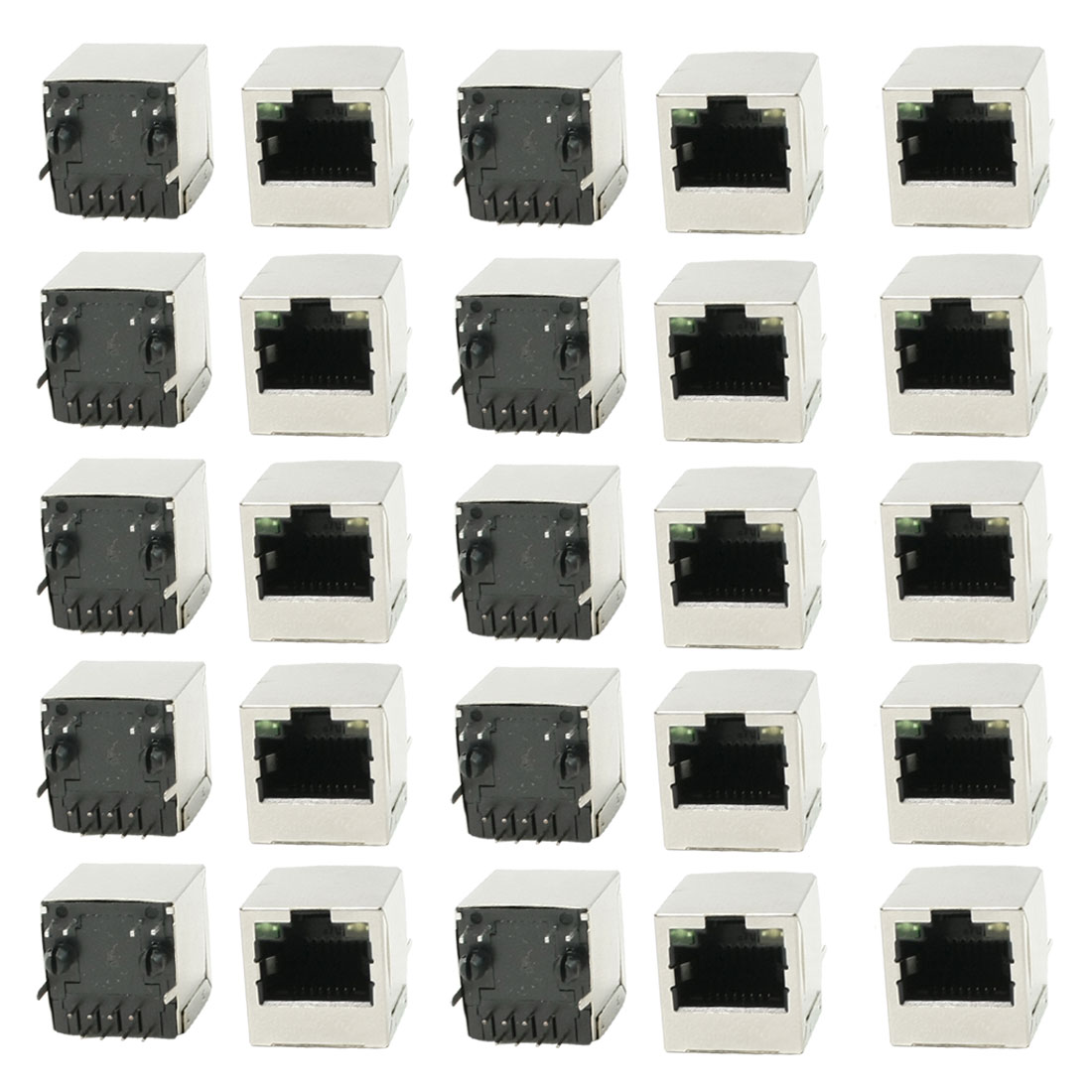 Vertical PCB Mounting LED Indicator Light RJ45 8P8C Shielded Jacks 25Pcs