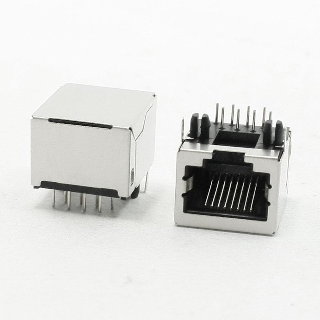 "10Pcs Stainless Steel Shield 8P8C RJ45 PCB Jack Connector Port 0.7"" Long"