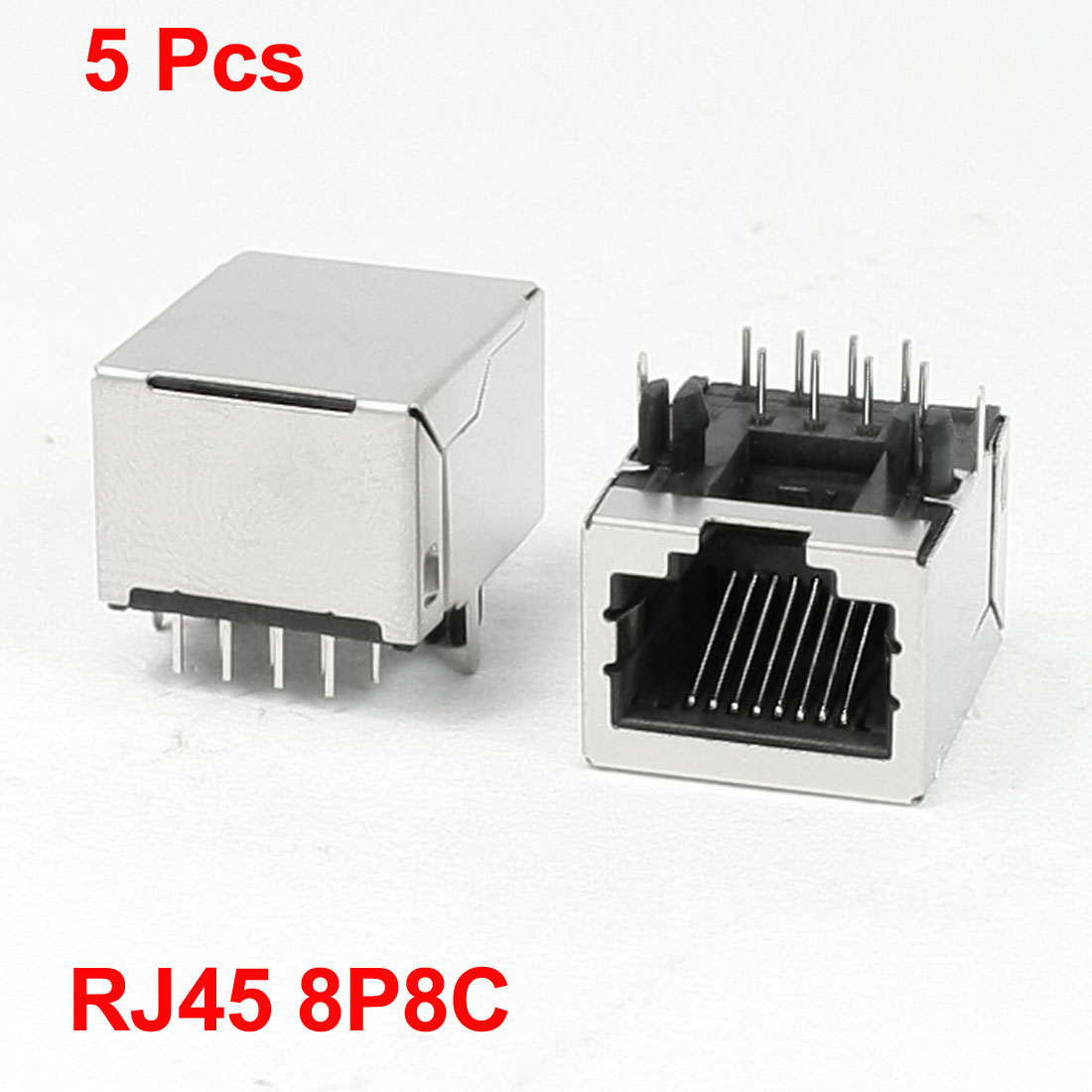PCB Mounting Right Angle Pins 8P8C RJ45 Jacks LAN Sockets 5 Pcs