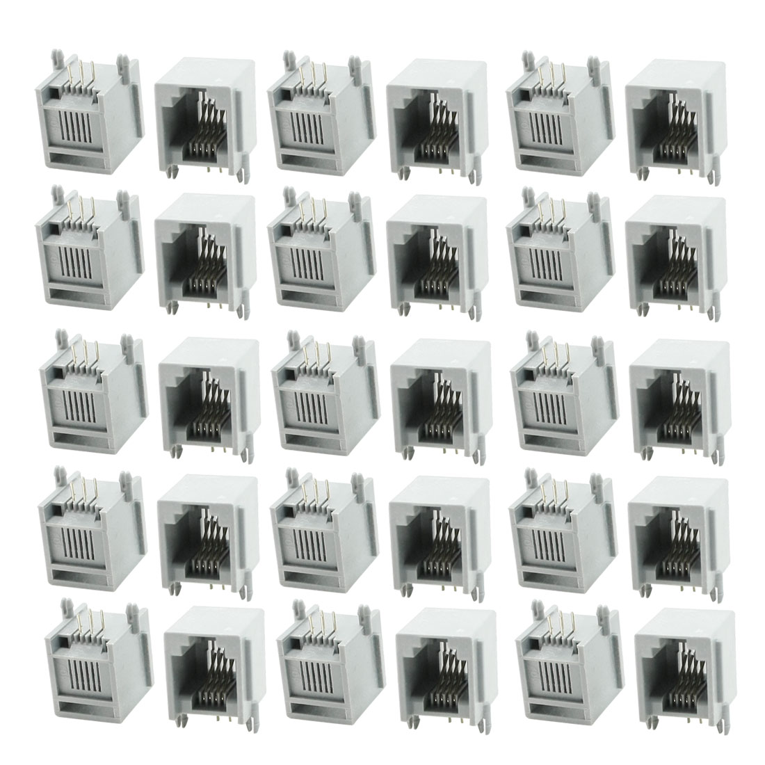 "30Pcs RJ11 6P4C PCB Jacks Horizontal Connectors 0.6"" Length for Ethernet"