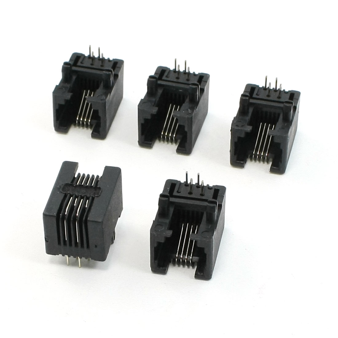 5Pcs RJ11 6P4C PCB Jacks Horizontal Plastic Connectors 17.5 x 12.5 x 11mm