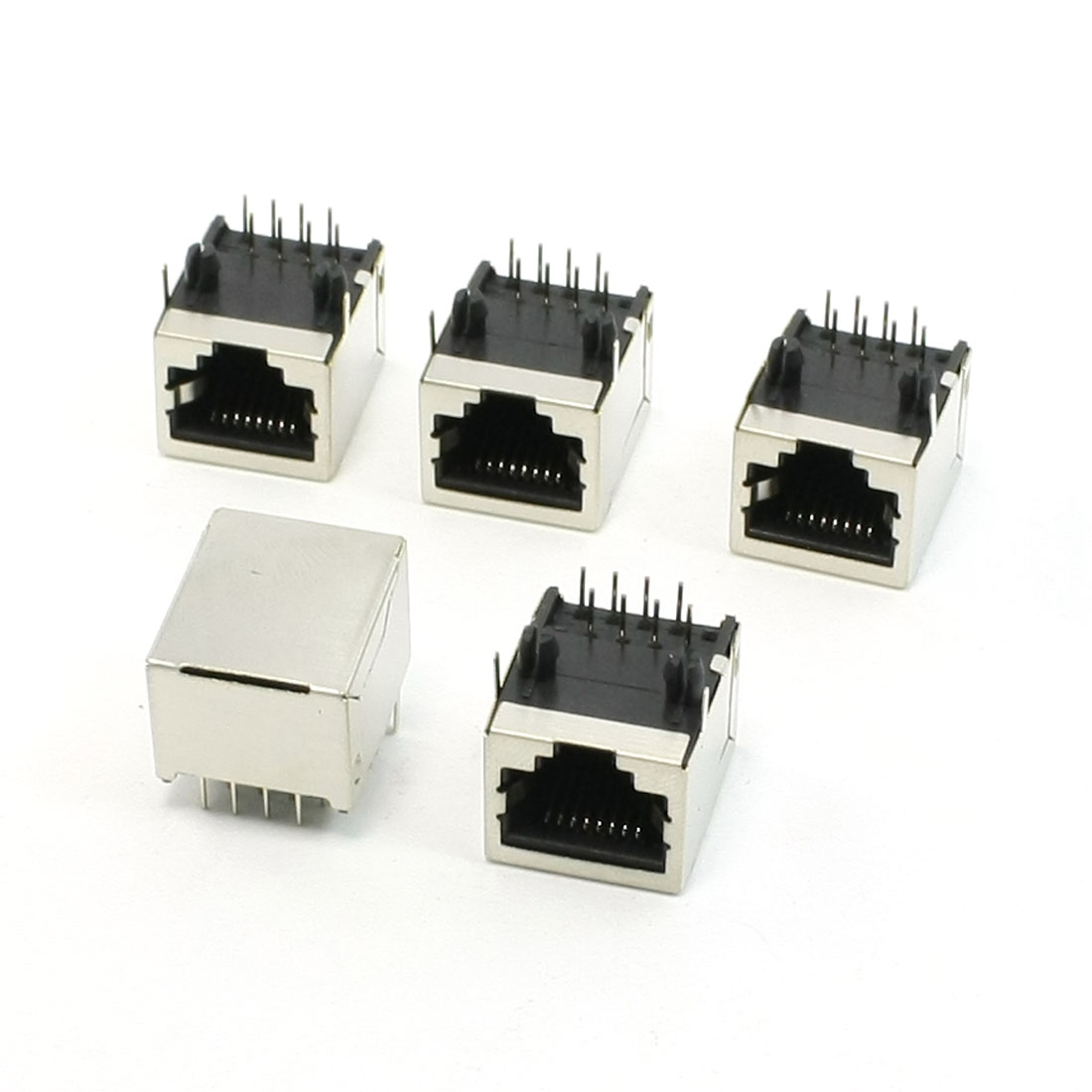 5 Pcs 8P8C RJ45 Network PCB Jack Horizontal Mounting Connector