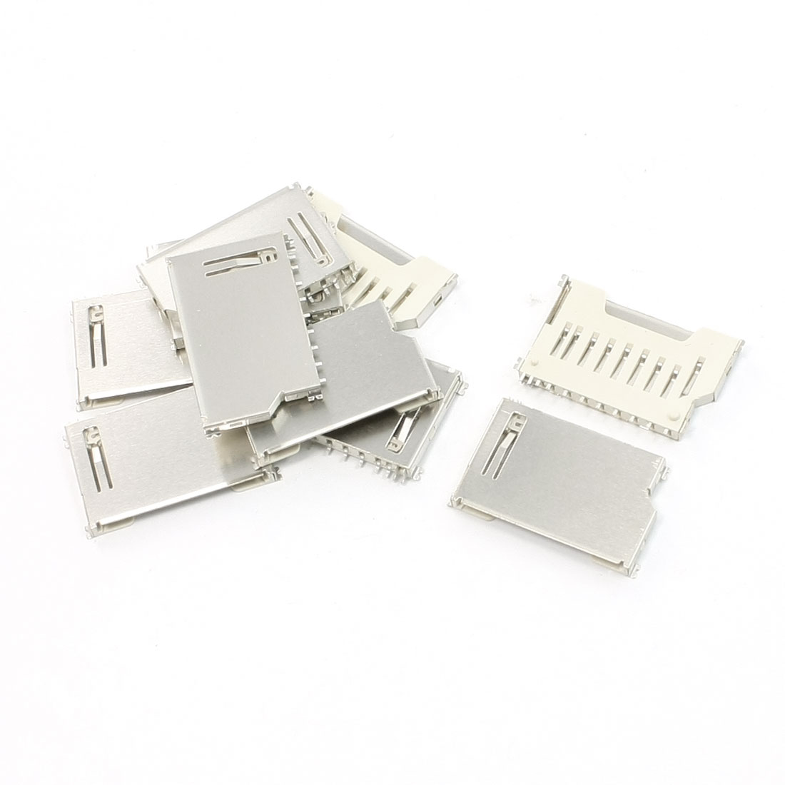 "10 Pcs Pull Out Type SD Memory Card Sockets Slots 0.63""mm Length"